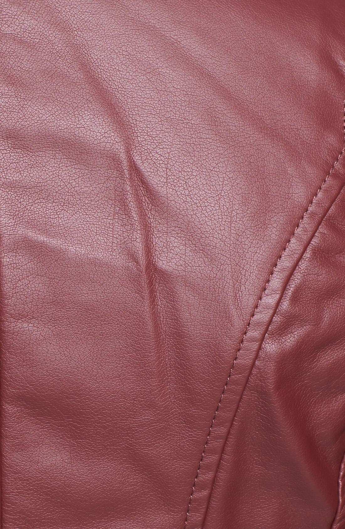 Alternate Image 3  - Collection B Faux Leather Peplum Moto Jacket (Juniors)
