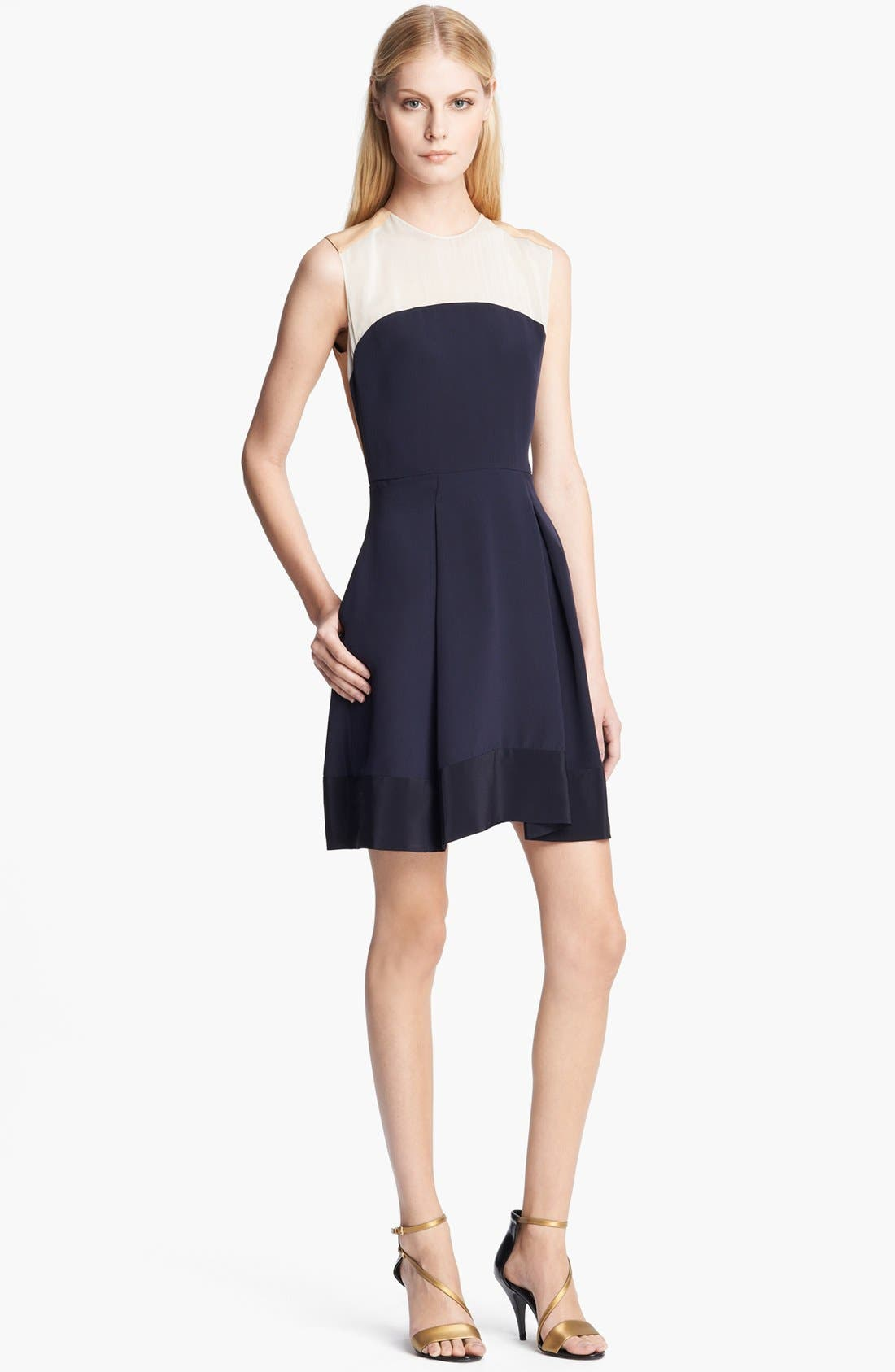 Alternate Image 1 Selected - 3.1 Phillip Lim Contrast Chiffon Yoke Silk Dress