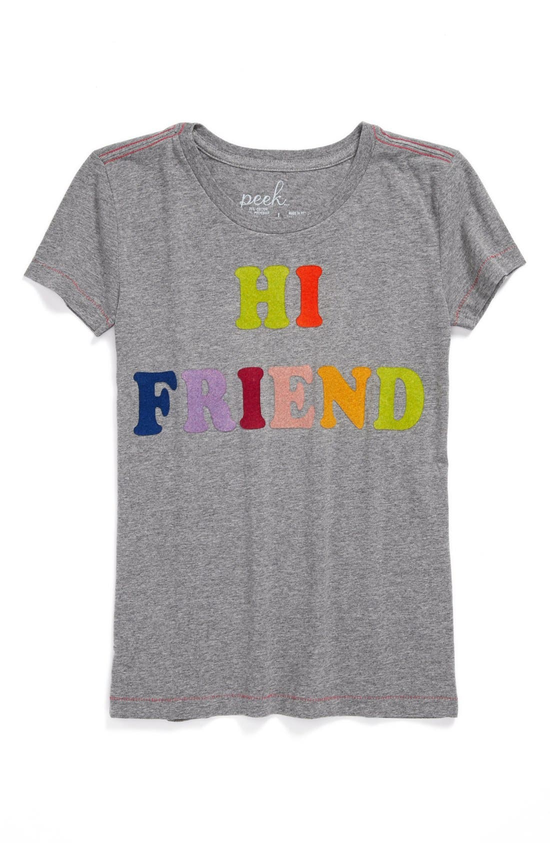 Alternate Image 1 Selected - Peek 'Hi Friend' Tee (Toddler Girls, Little Girls & Big Girls)