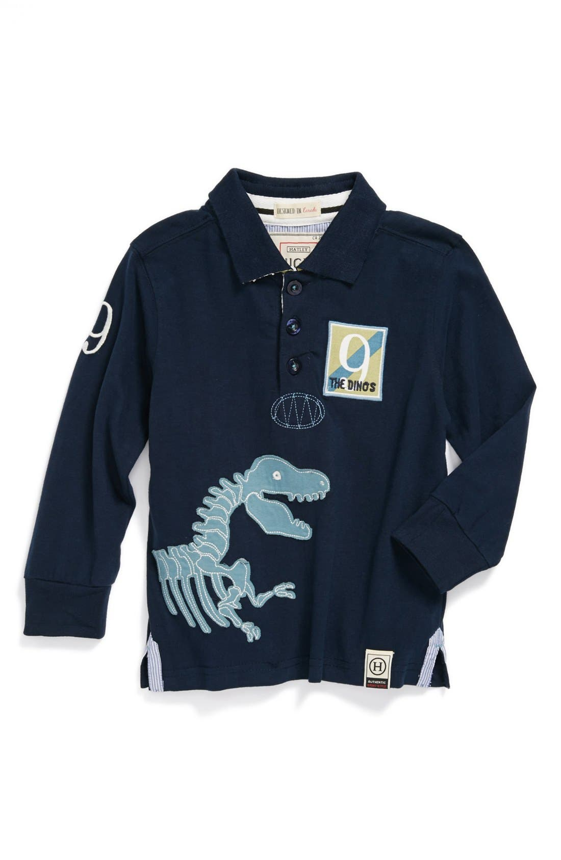 Alternate Image 1 Selected - Hatley 'Dino' Rugby Shirt (Toddler Boys)
