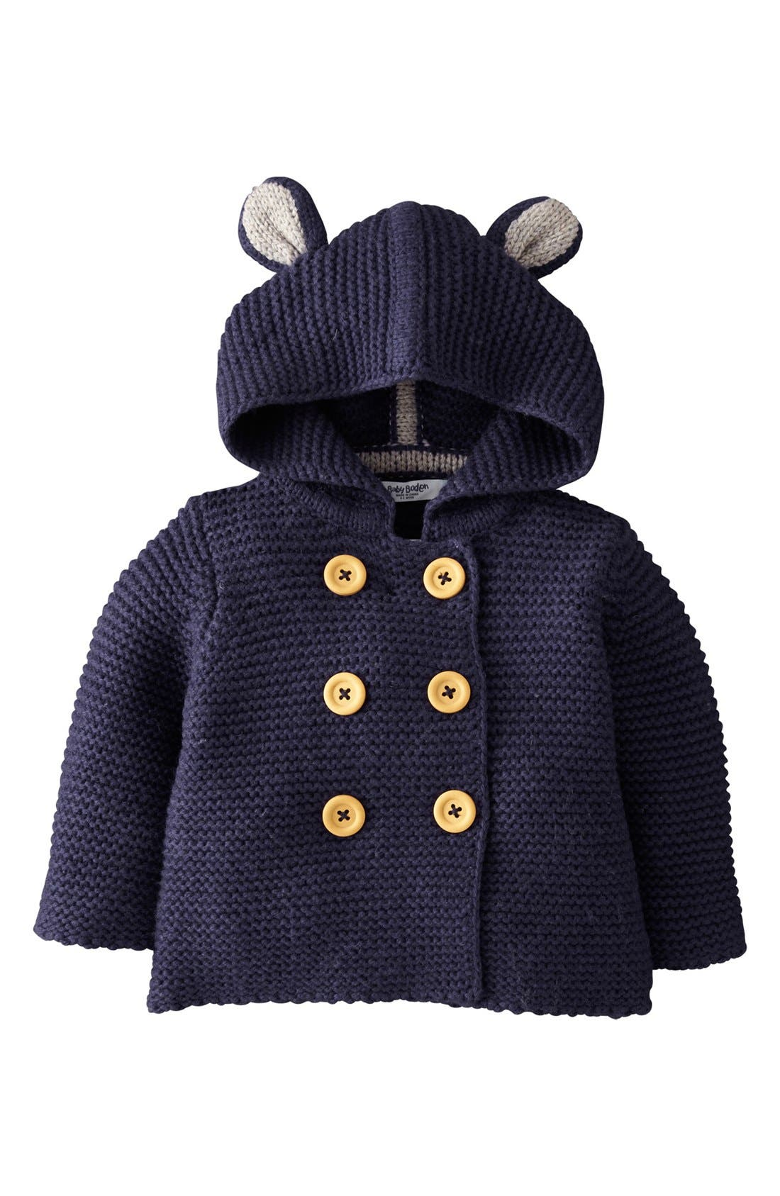Main Image - Mini Boden Knit Mouse Ears Jacket (Baby Boys)