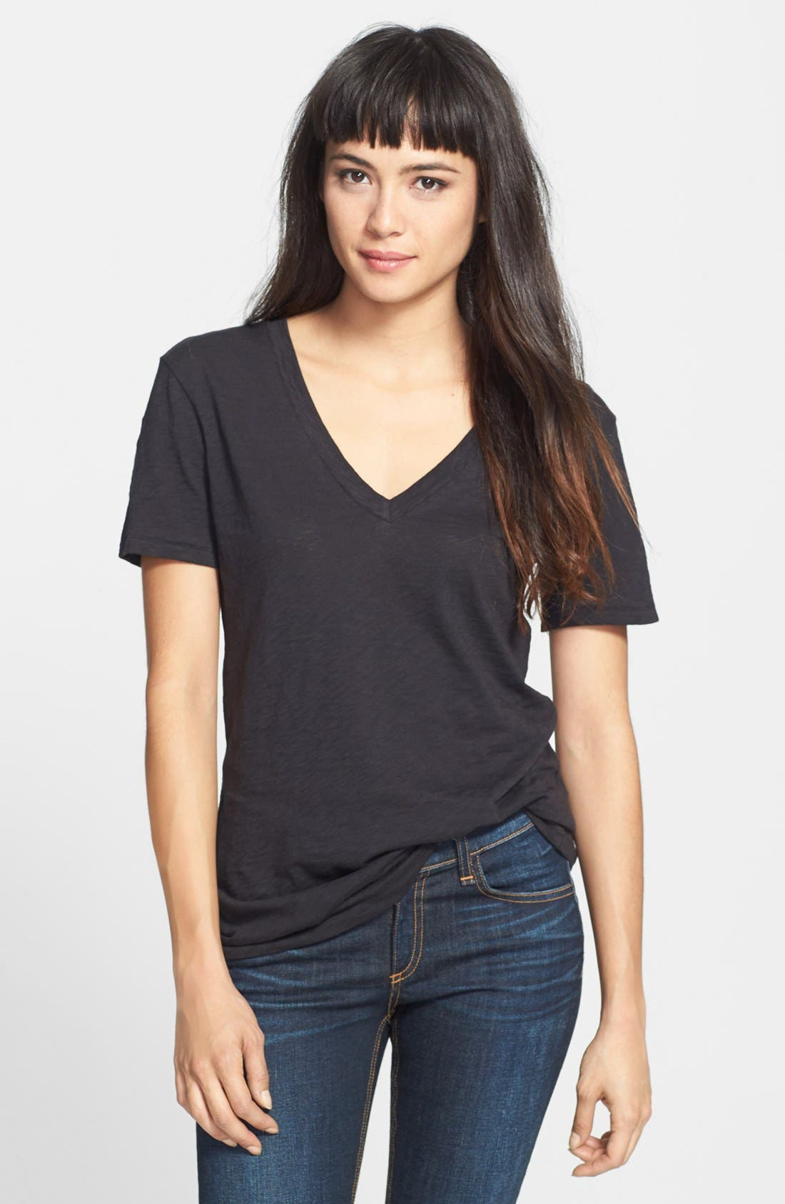 'The Classic V' Cotton Tee,                         Main,                         color, Black