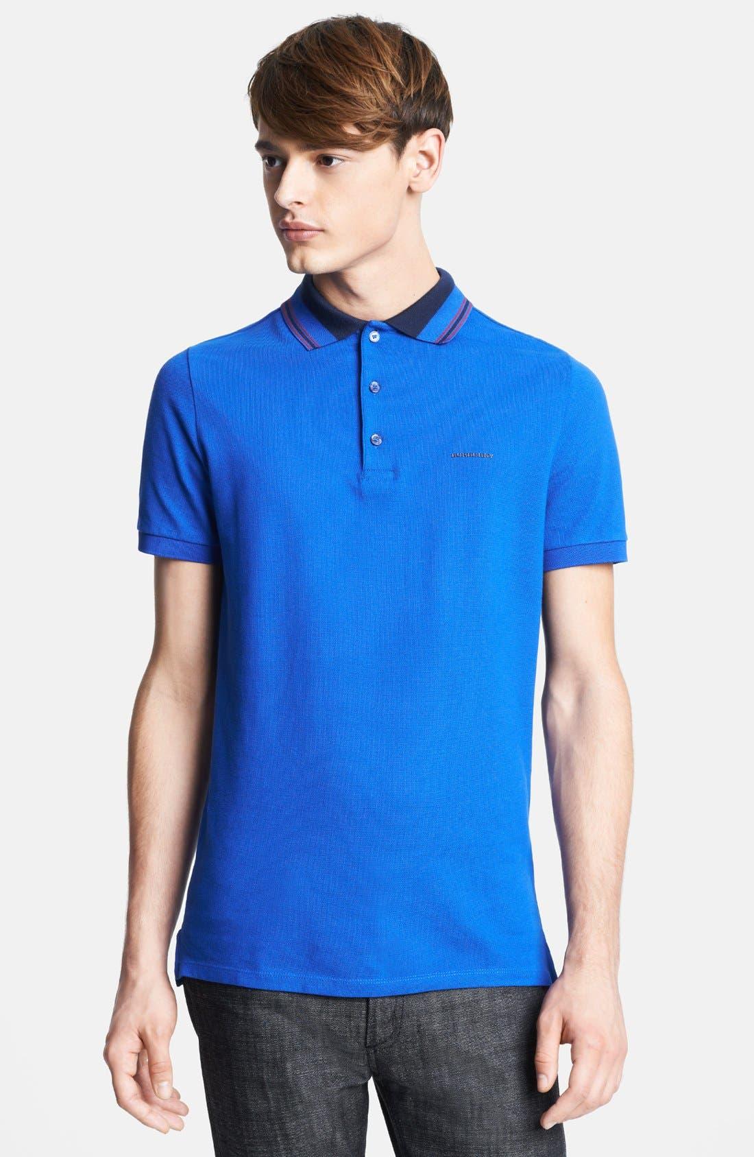 London 'Adler' Check Placket Cotton Polo,                             Main thumbnail 1, color,                             Bright Blue