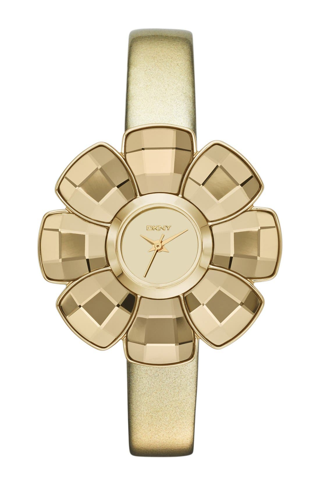 Main Image - DKNY Flower Case Leather Strap Watch, 40mm