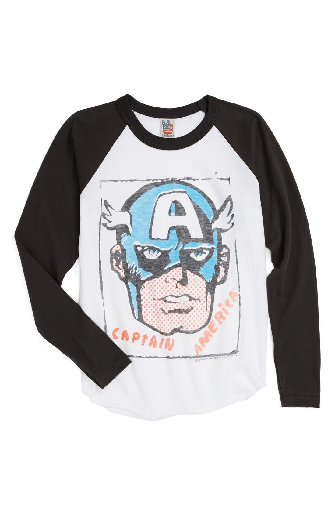 Alternate Image 1 Selected - Junk Food 'Captain America™' Baseball T-Shirt (Toddler Boys, Little Boys & Big Boys)