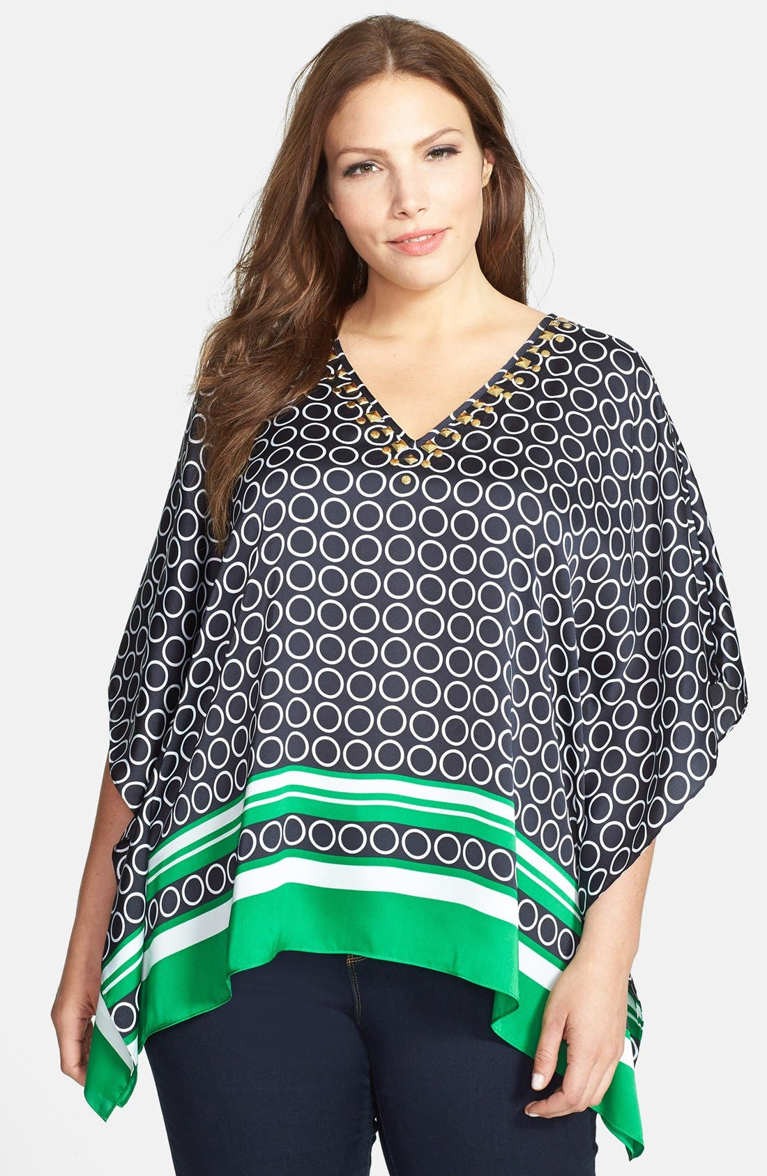 Main Image - MICHAEL Michael Kors Embellished Flutter Top (Plus Size)