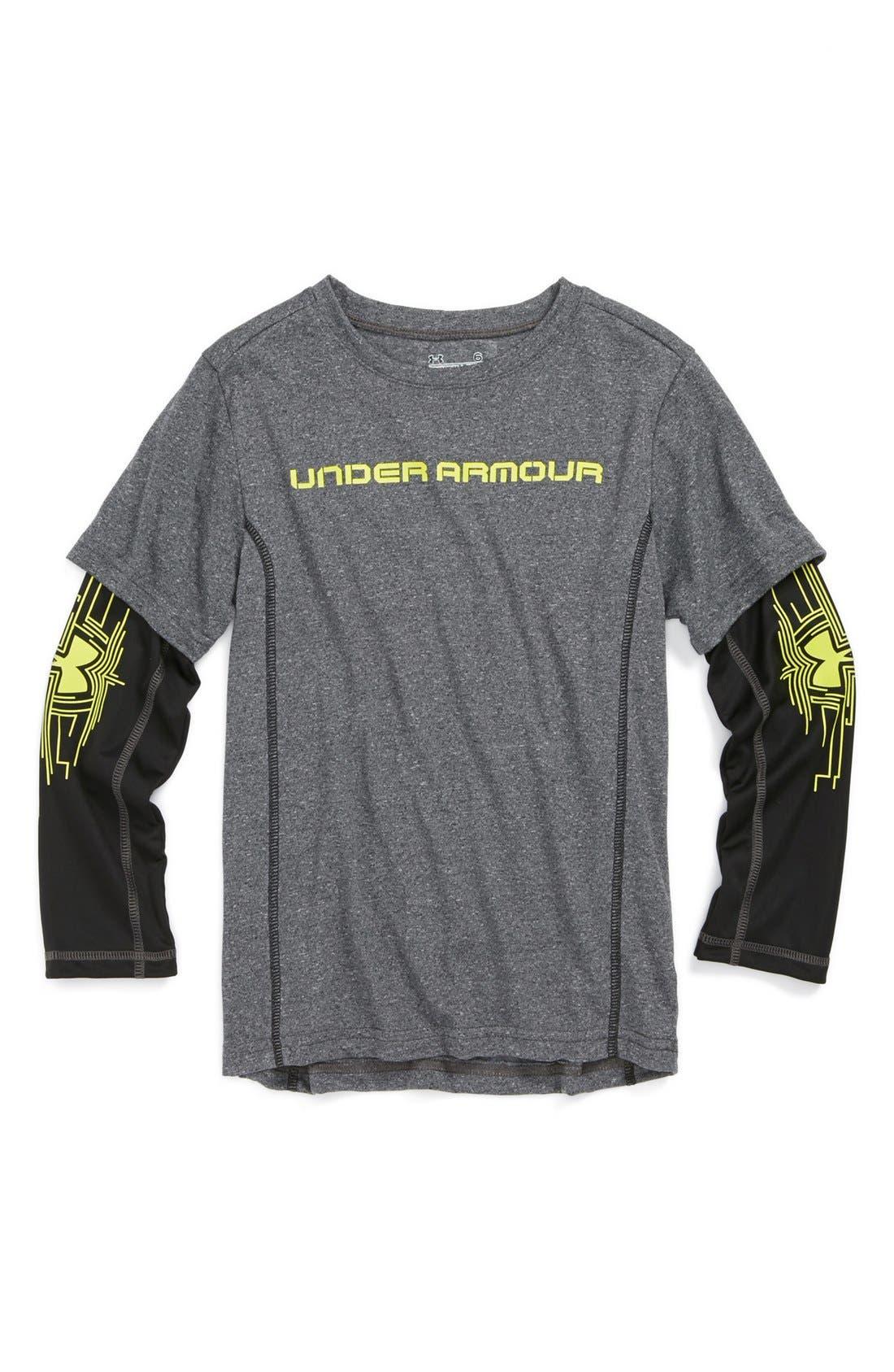 Main Image - Under Armour 'Slider' HeatGear® T-Shirt (Little Boys)