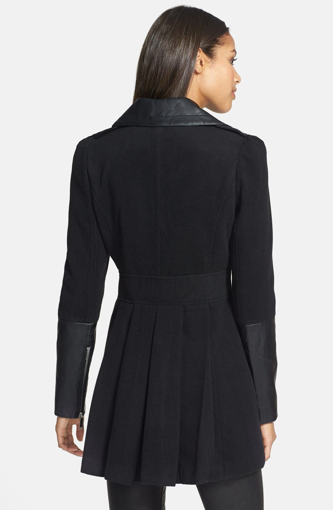 Alternate Image 2  - BCBGeneration Faux Leather Trim Military Peacoat