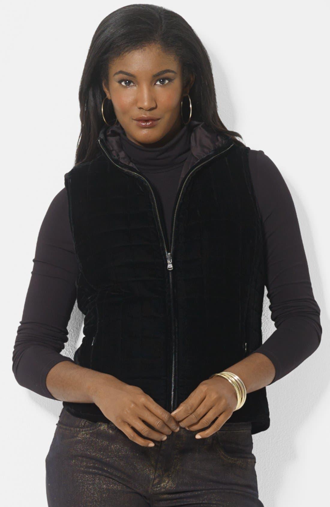 Alternate Image 2  - Lauren Ralph Lauren Reversible Quilted Vest (Petite)
