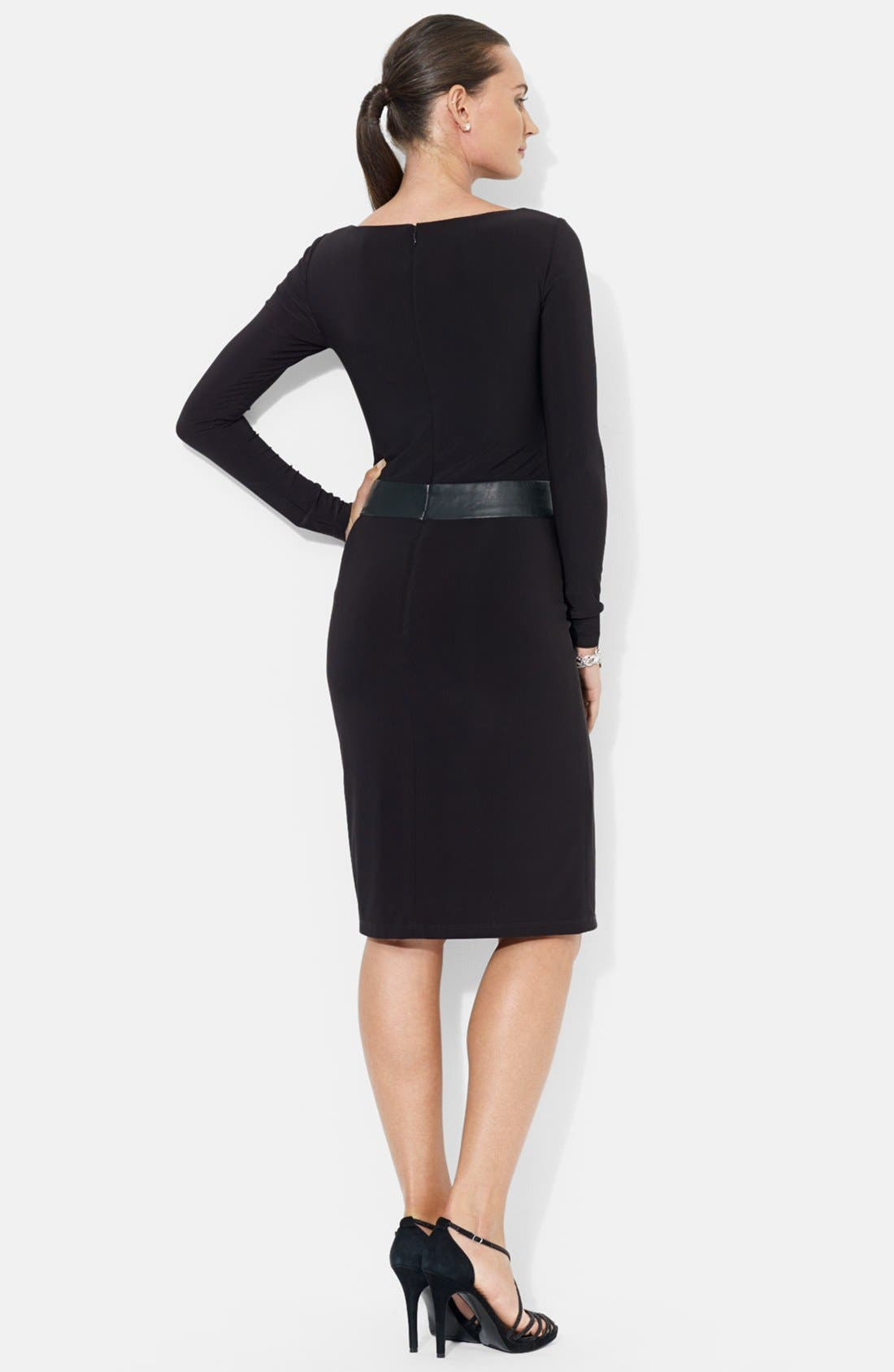 Alternate Image 2  - Lauren Ralph Lauren Faux Leather Waistband Matte Jersey Dress