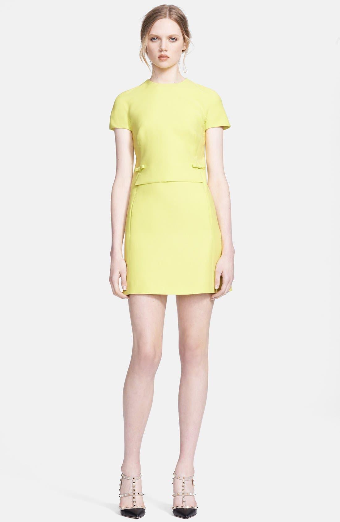 Main Image - Valentino Bow Detail Crepe Minidress