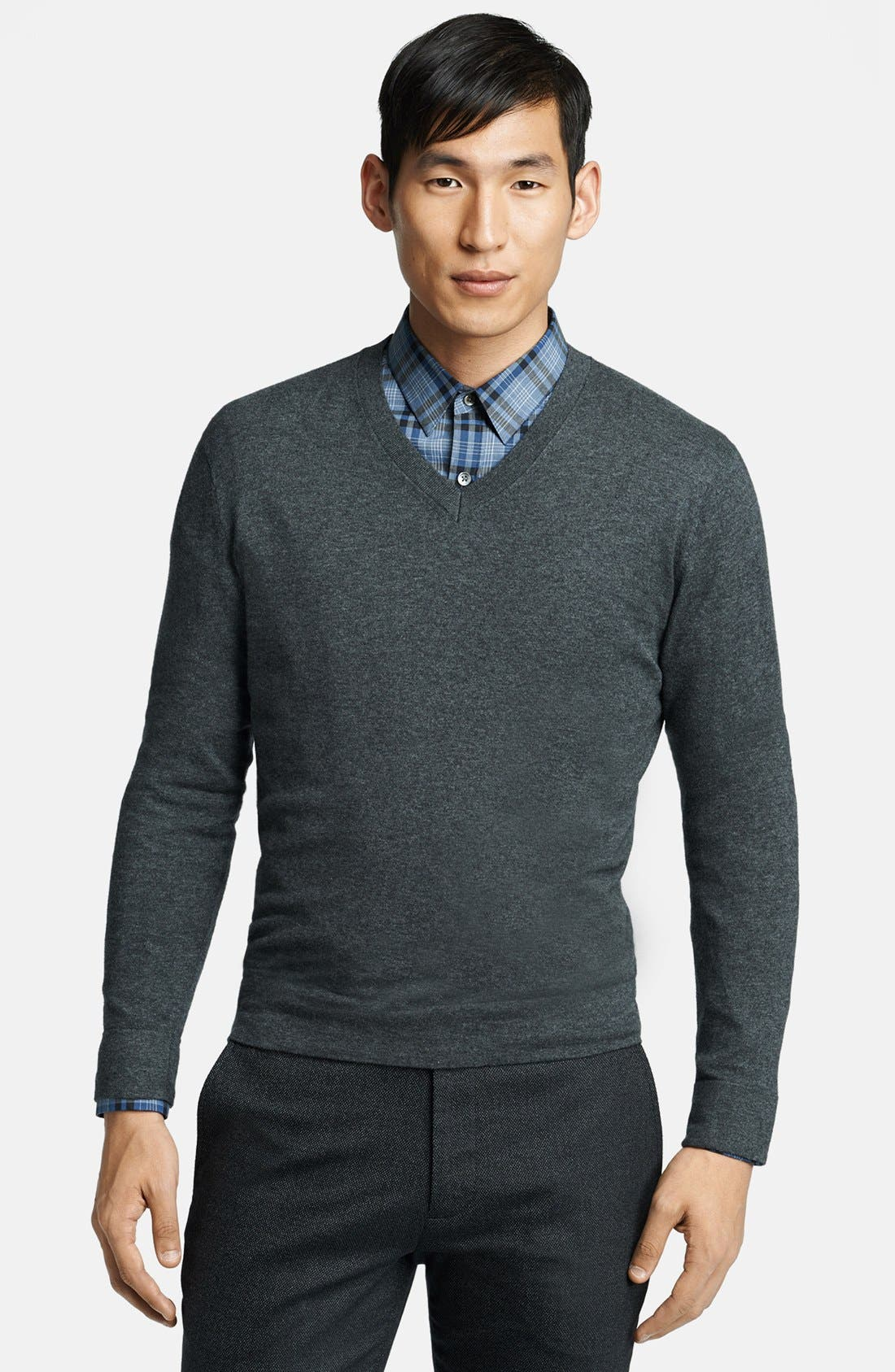Alternate Image 1 Selected - Theory V-Neck Cotton & Cashmere Sweater