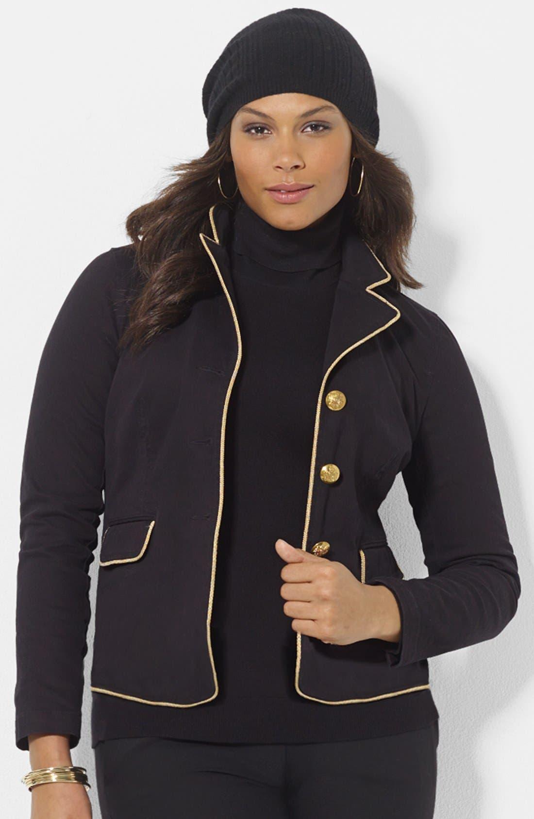 Alternate Image 1 Selected - Lauren Ralph Lauren Contrast Trim Denim Jacket (Plus Size)