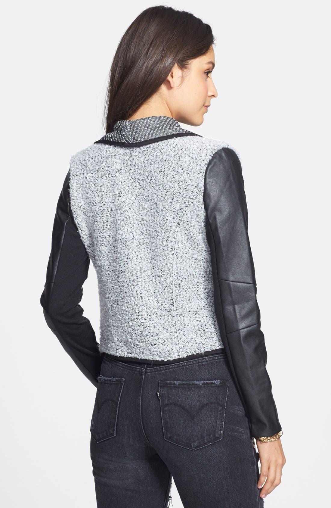 Alternate Image 2  - Coffee Shop Drape Front Faux Leather & Bouclé Jacket (Juniors)