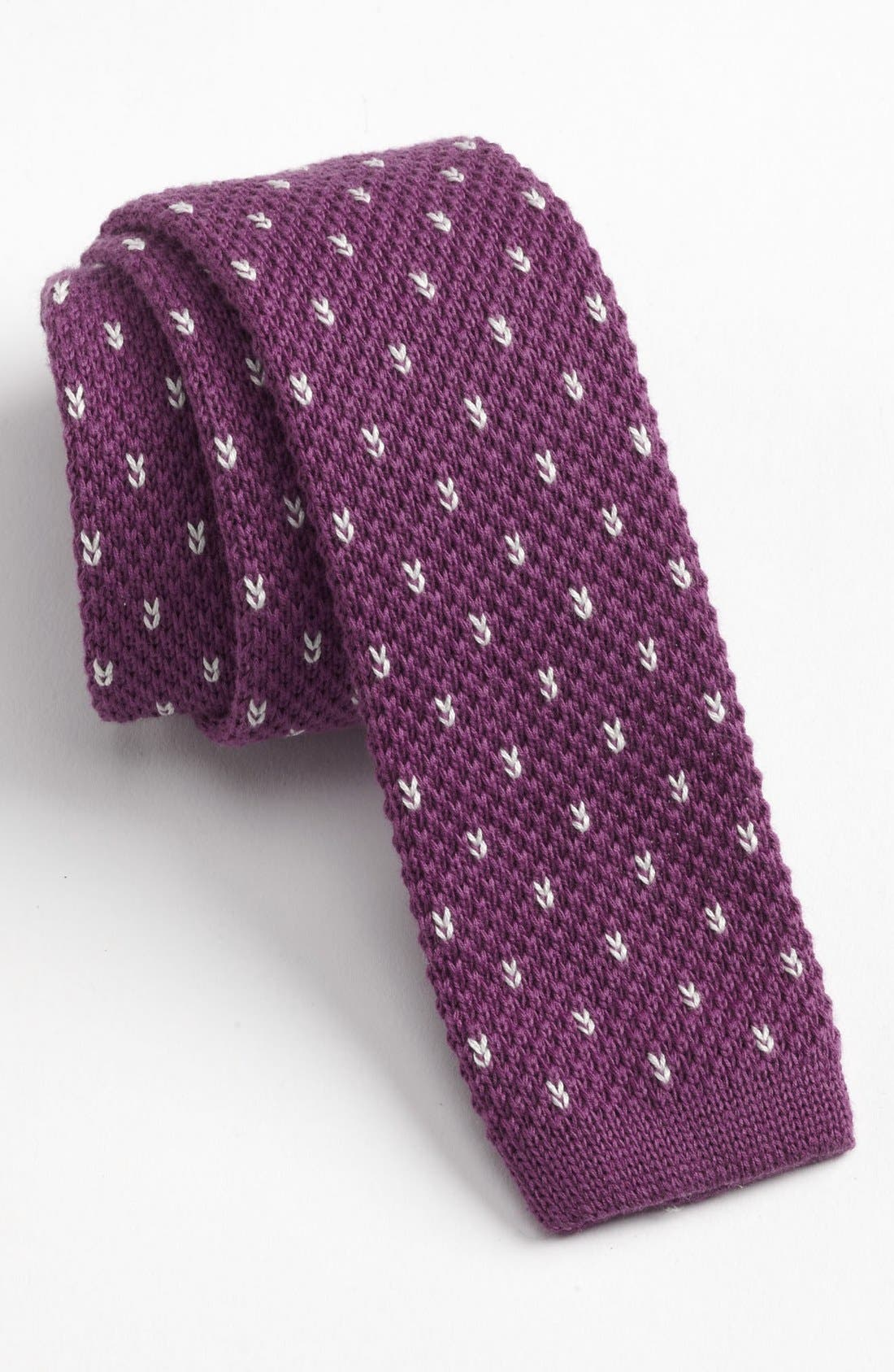 Main Image - 1901 Knit Cotton Tie (Online Only)