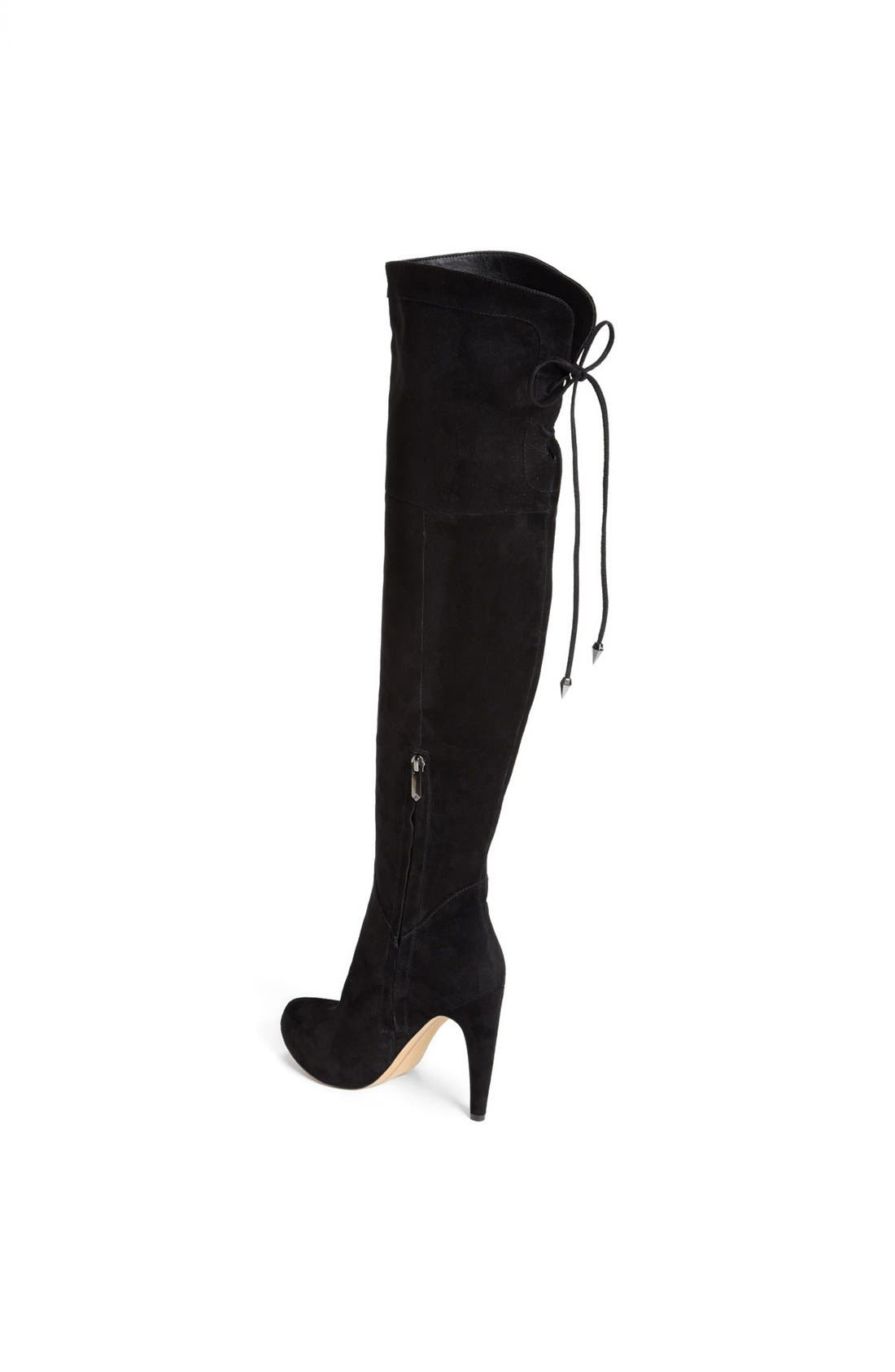 'Kayla' Over the Knee Boot,                             Alternate thumbnail 3, color,                             Black Suede
