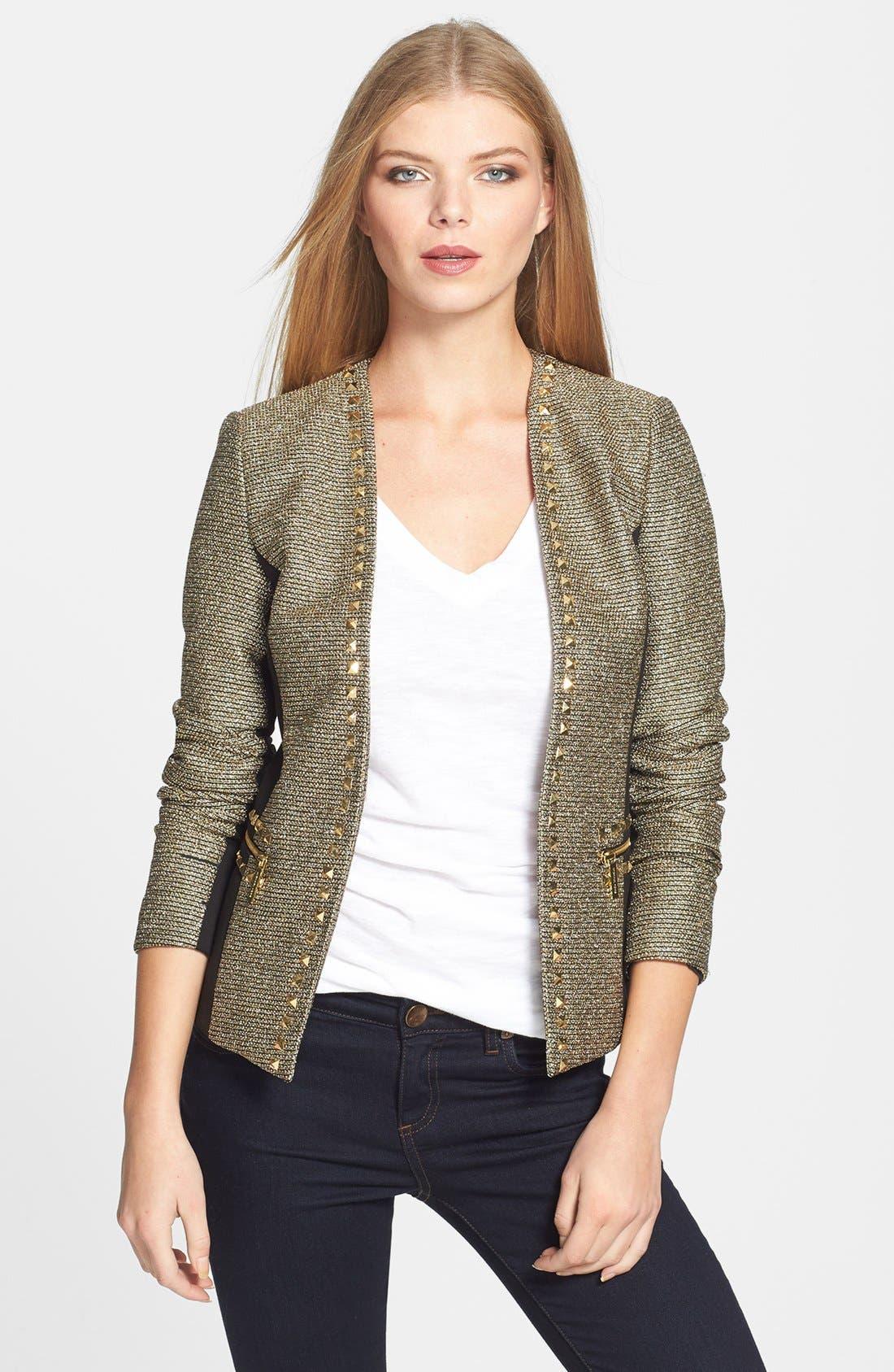 Alternate Image 1 Selected - MICHAEL Michael Kors Metallic Tweed & Ponte Knit Jacket