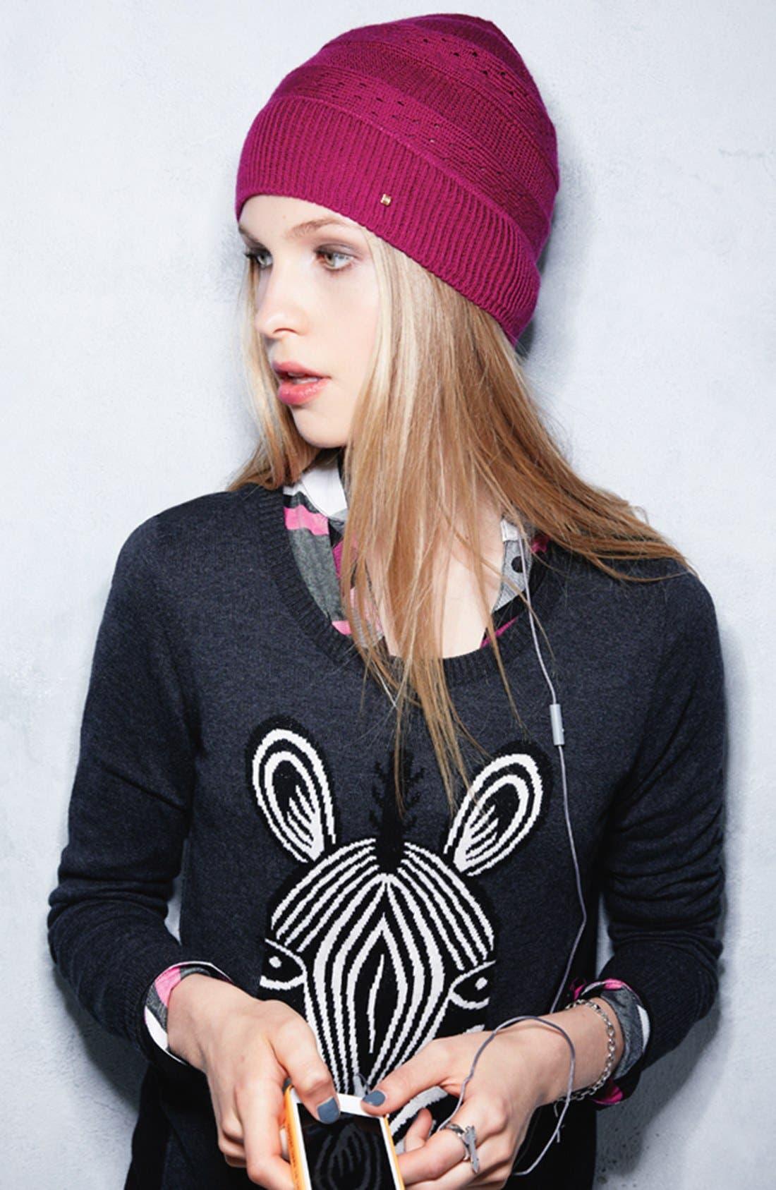 Alternate Image 3  - U R Eyelet Stripe Knit Tech Hat