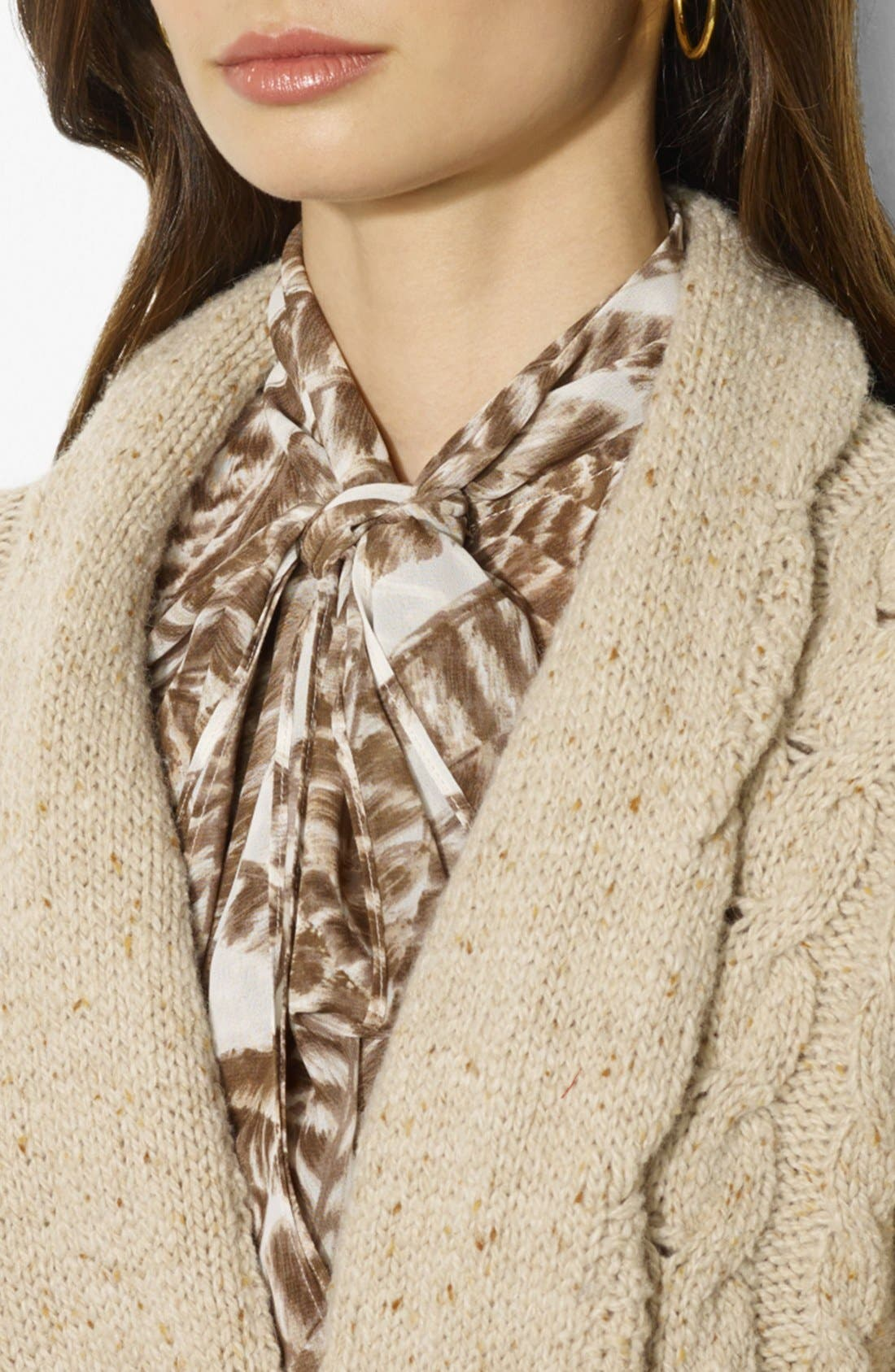 Alternate Image 3  - Lauren Ralph Lauren Shawl Collar Cable Knit Cardigan (Petite)