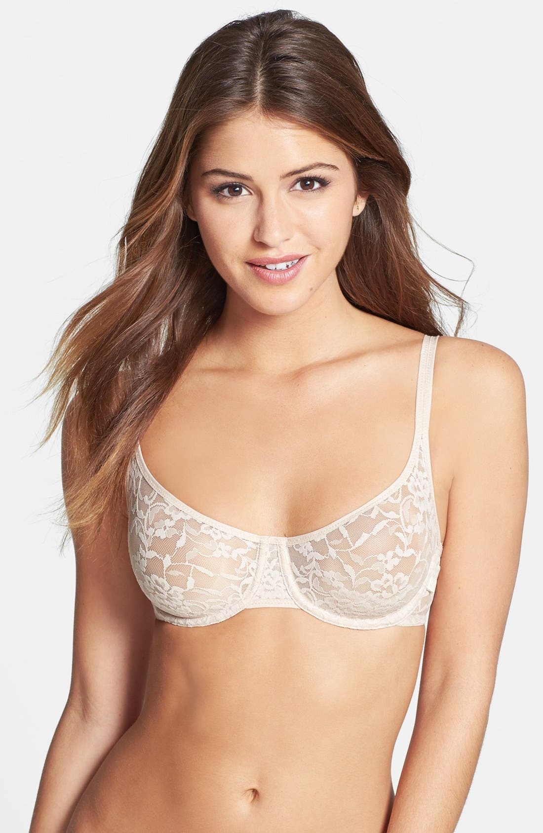 Alternate Image 1 Selected - DKNY 'Signature Lace' Unlined Underwire Demi Bra