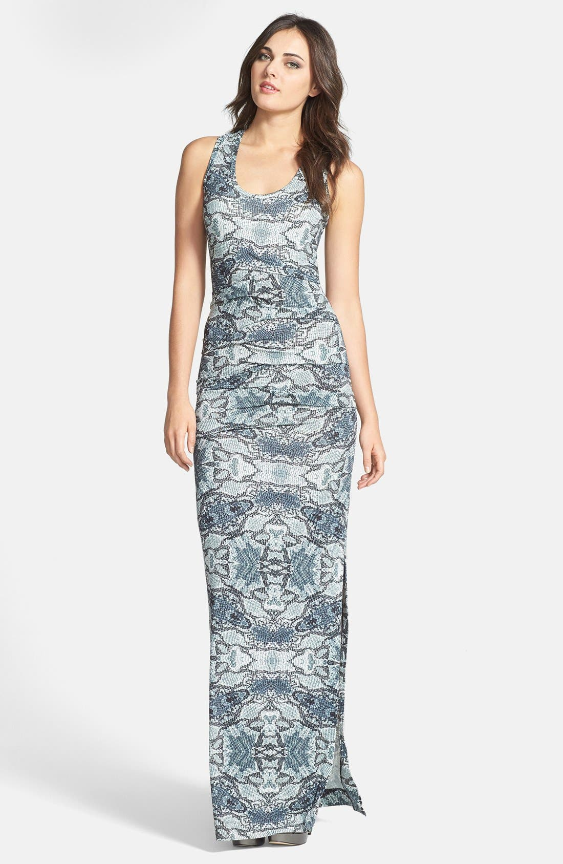 Main Image - Nicole Miller Pleated Print Maxi Dress