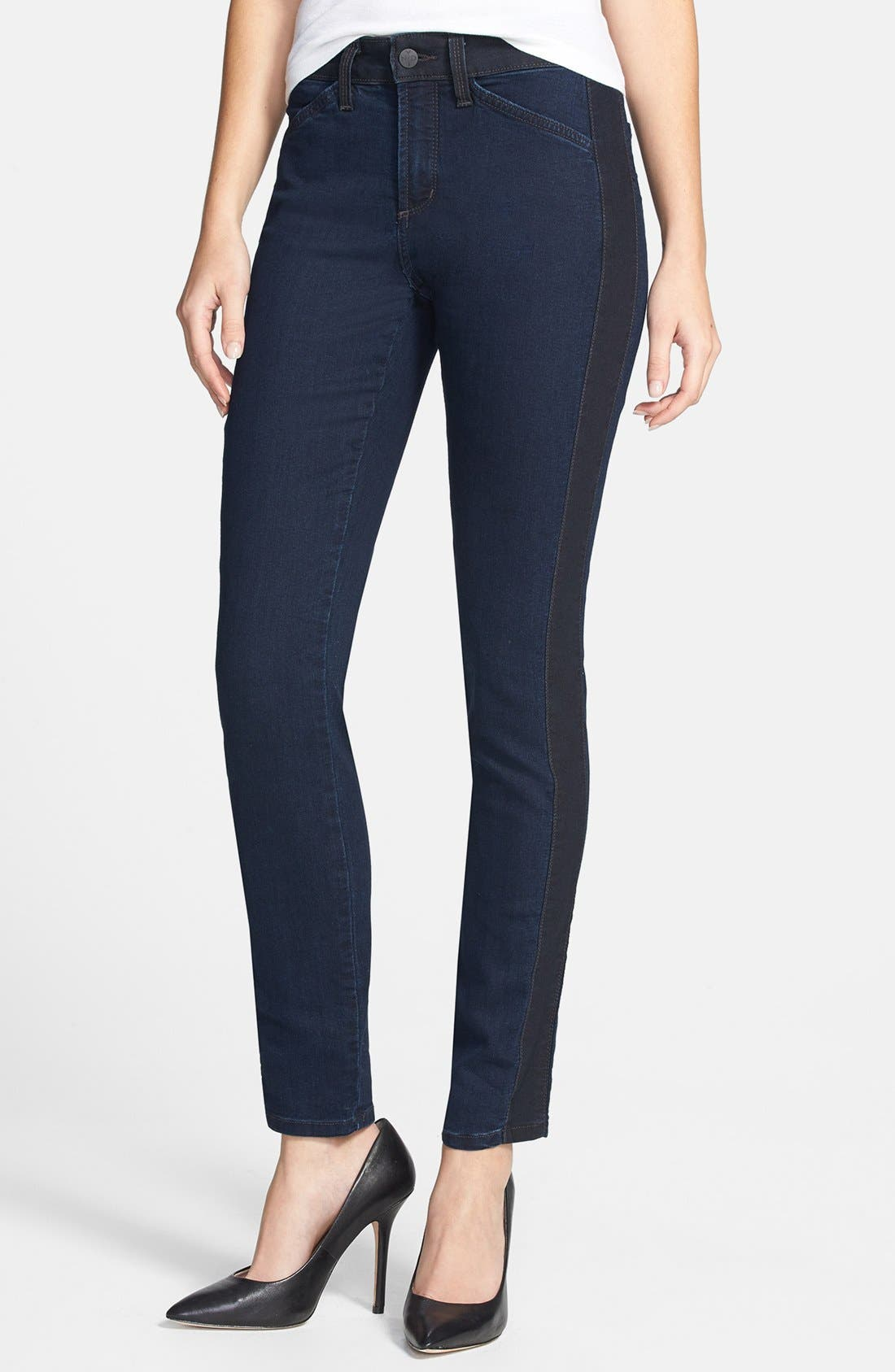 Alternate Image 1 Selected - NYDJ 'Alexandra' Tuxedo Stripe Stretch Skinny Jeans (Covina)