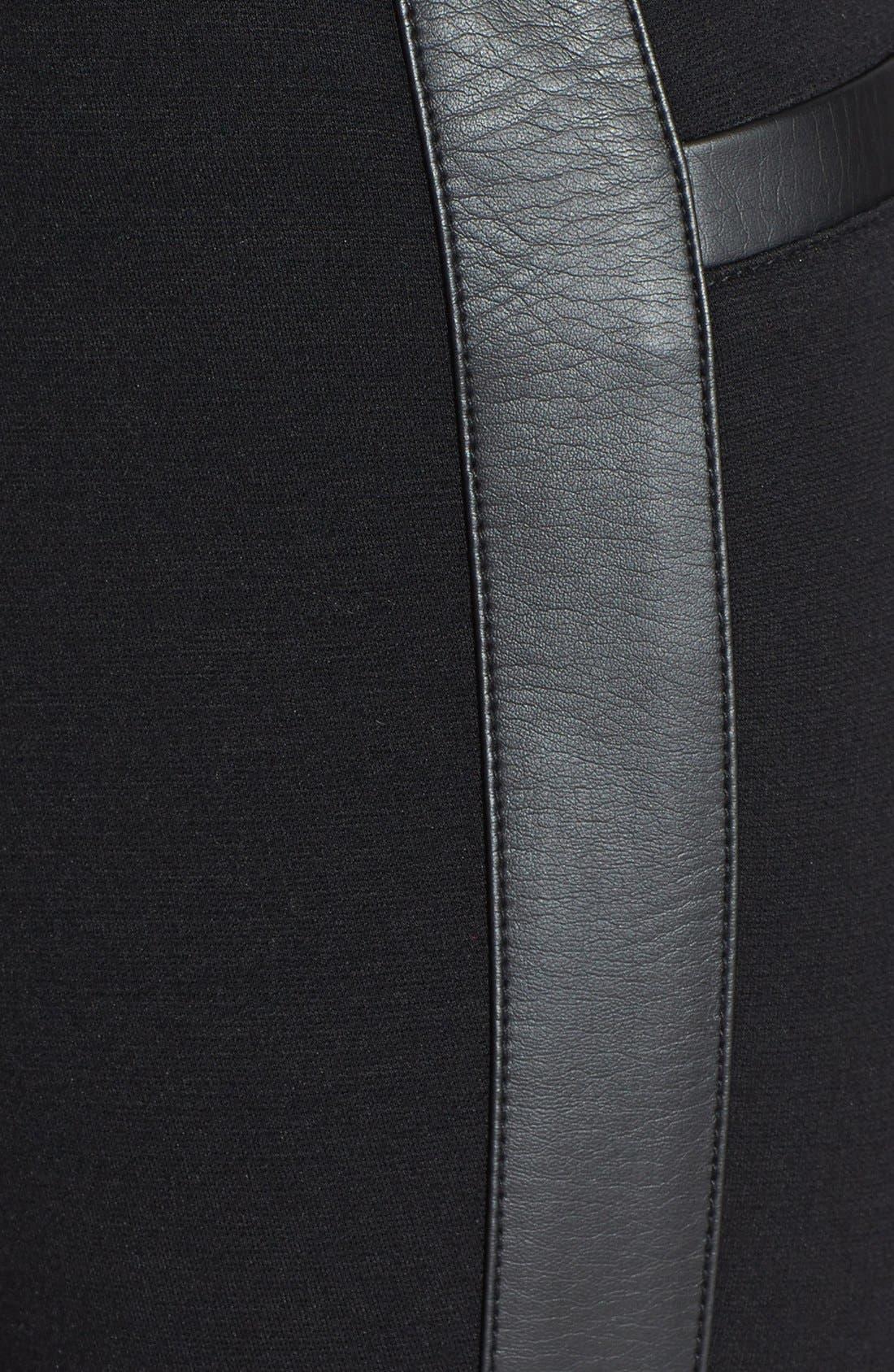 Faux Leather Trim Ponte Pants,                             Alternate thumbnail 3, color,                             Black