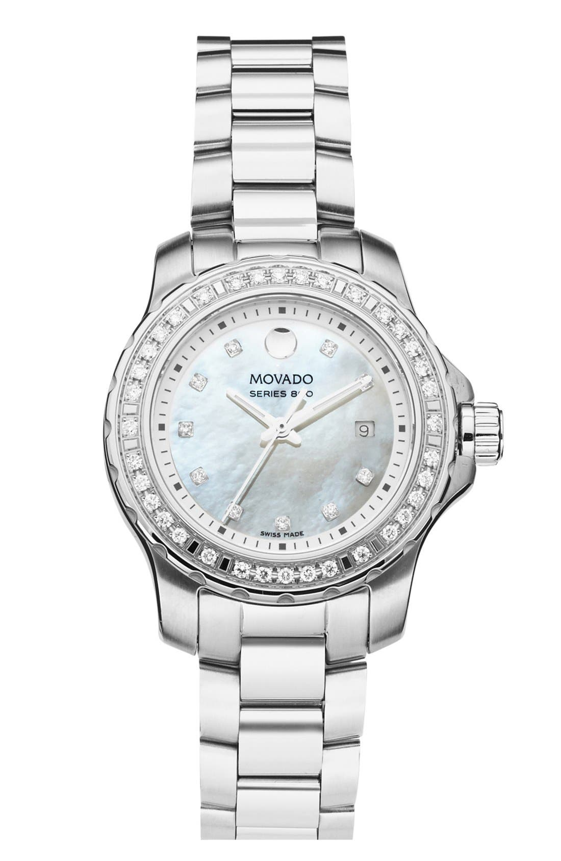 Movado 'Series 800' Diamond Bracelet Watch, 29mm