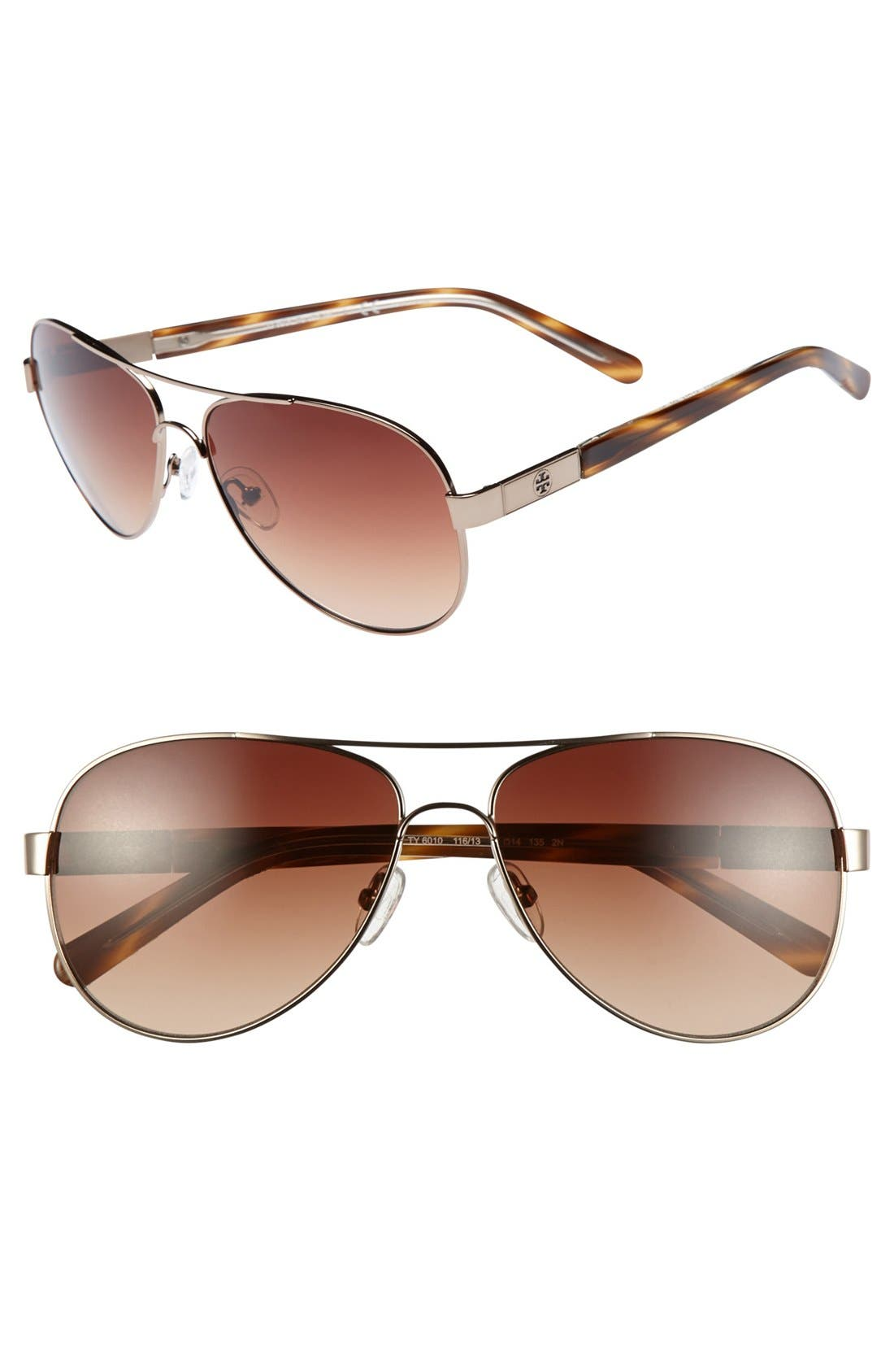 Main Image - Tory Burch 57mm Metal Aviator Sunglasses with Resin Temples