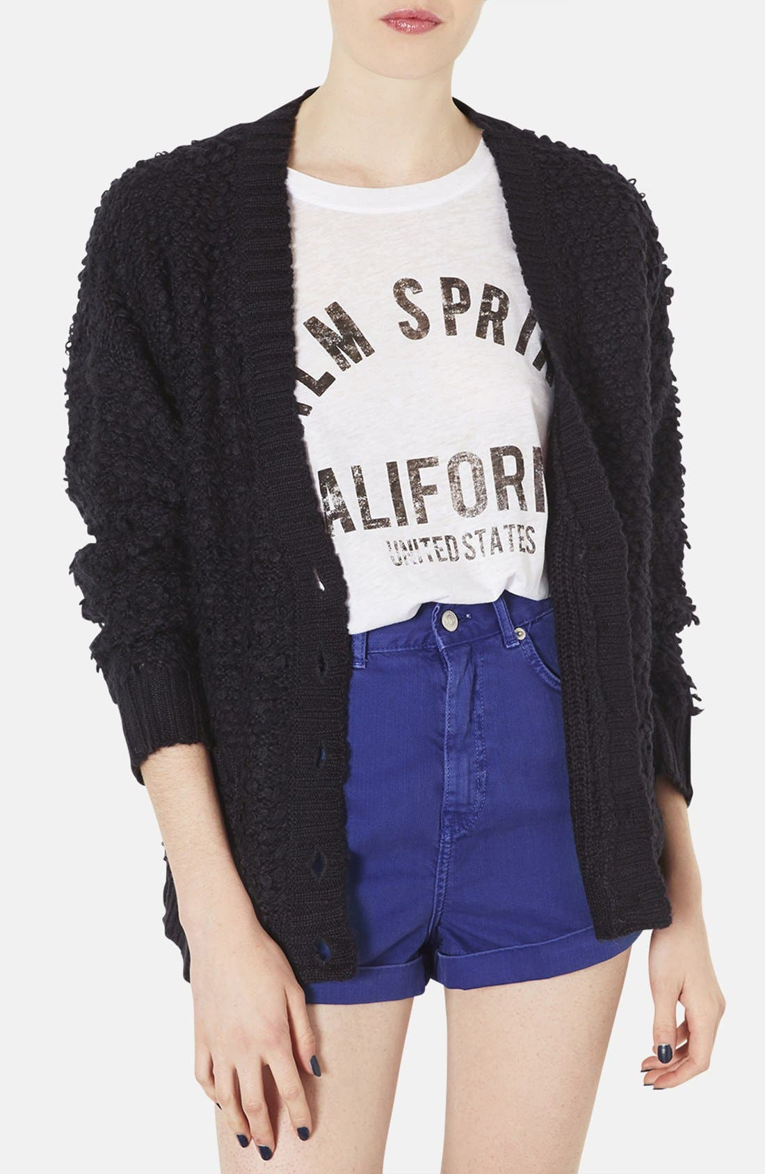 Main Image - Topshop 'Hold Loopy' Textured Knit Cardigan