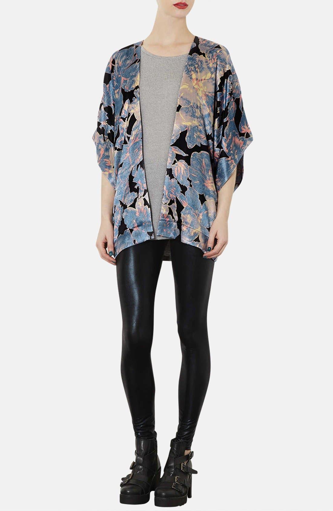 Alternate Image 4  - Topshop 'Chateau Femme' Print Satin Kimono Jacket