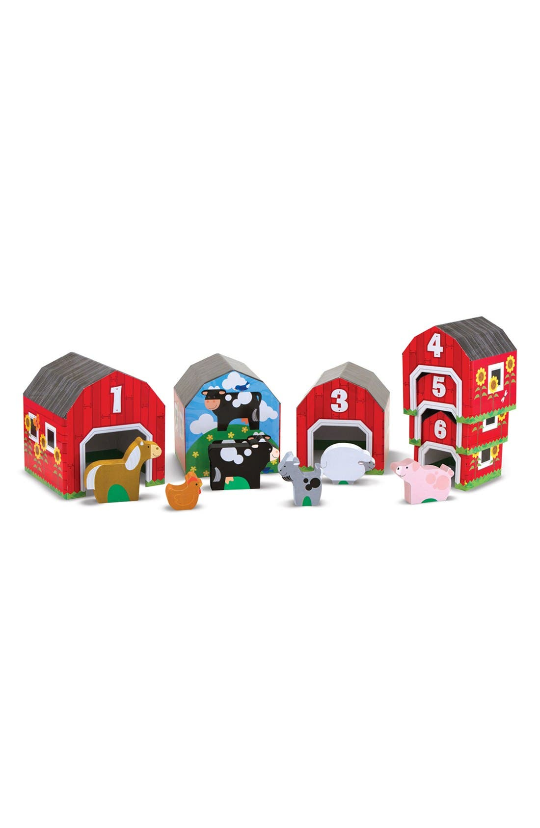 Nesting Barns & Animals Toy,                         Main,                         color, Red Multi