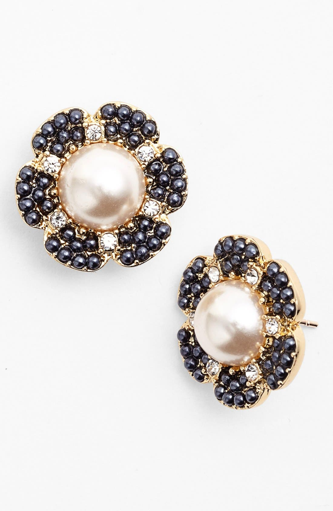 'park floral' stud earrings,                         Main,                         color, Navy/ Cream/ Gold