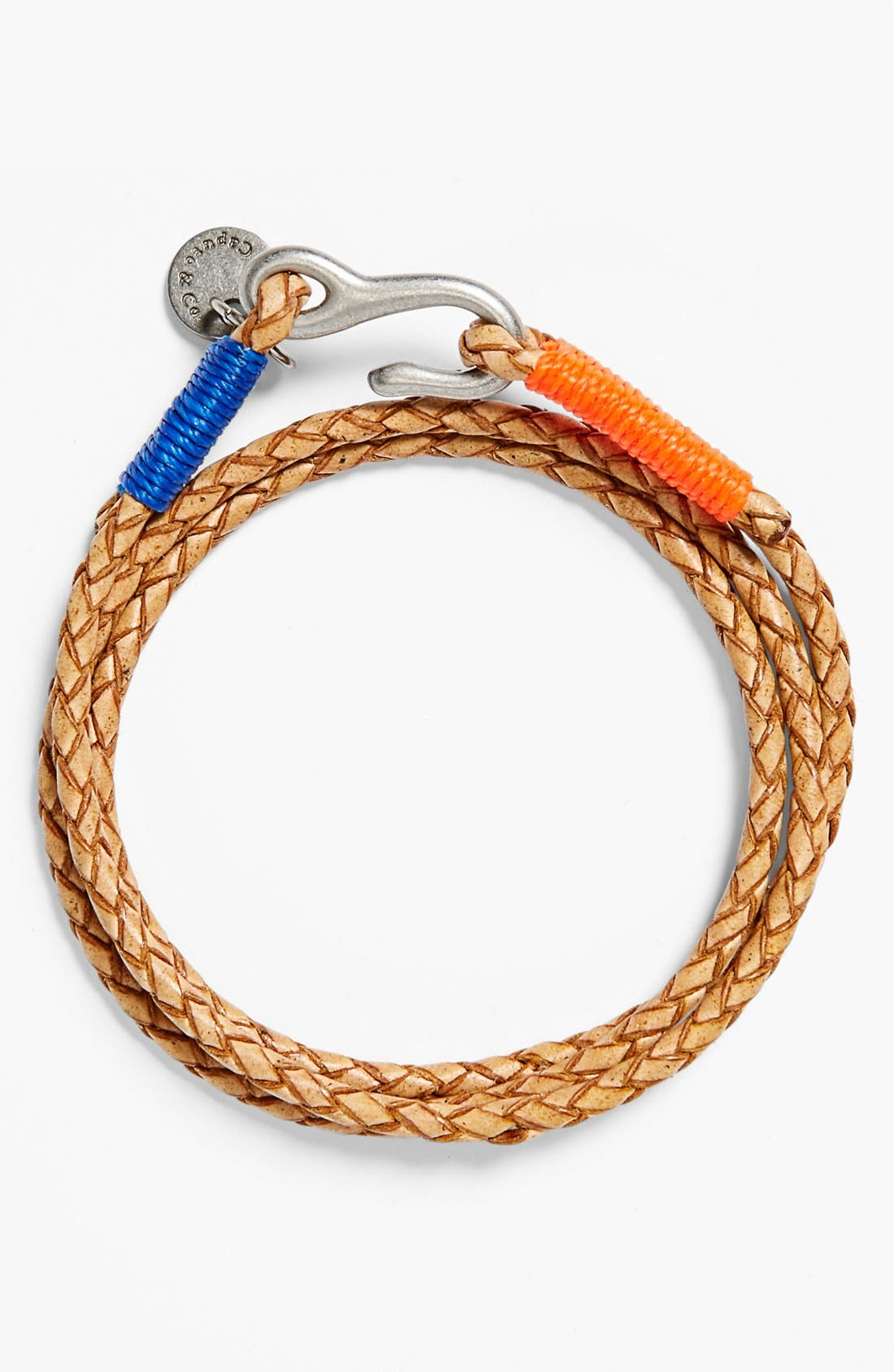 Main Image - CAPUTO & CO Washed Braided Leather Bracelet