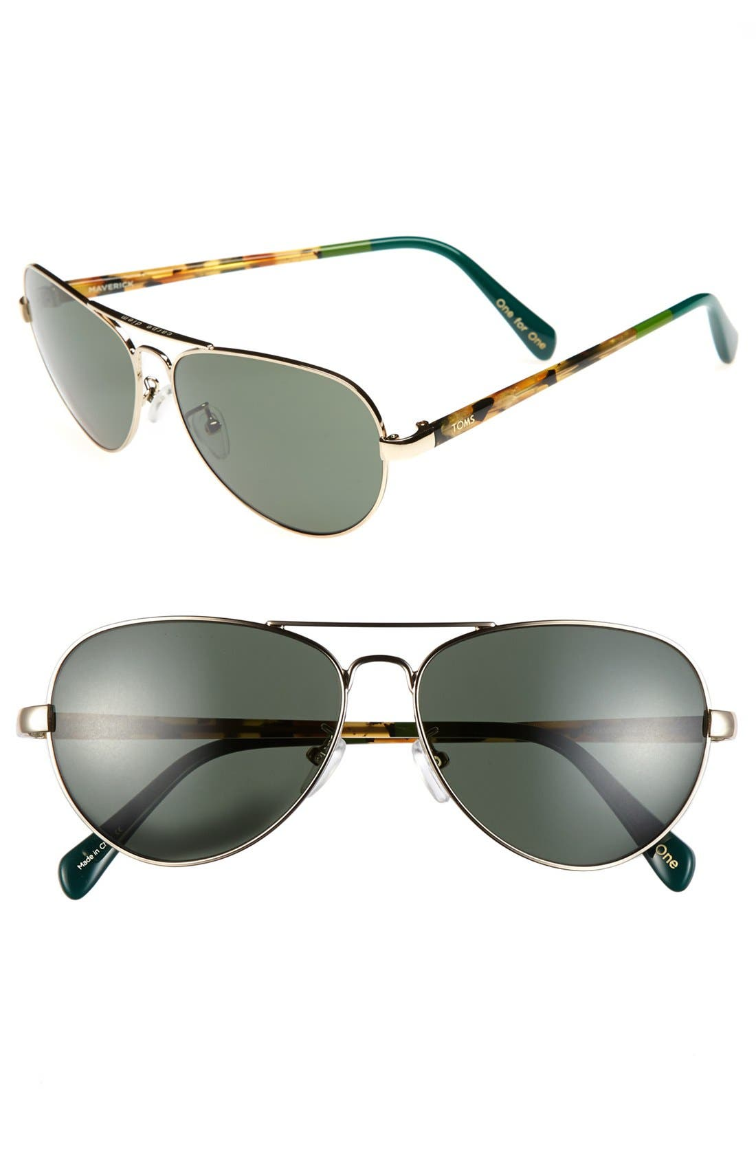 Main Image - TOMS 'Maverick' 60mm Aviator Sunglasses