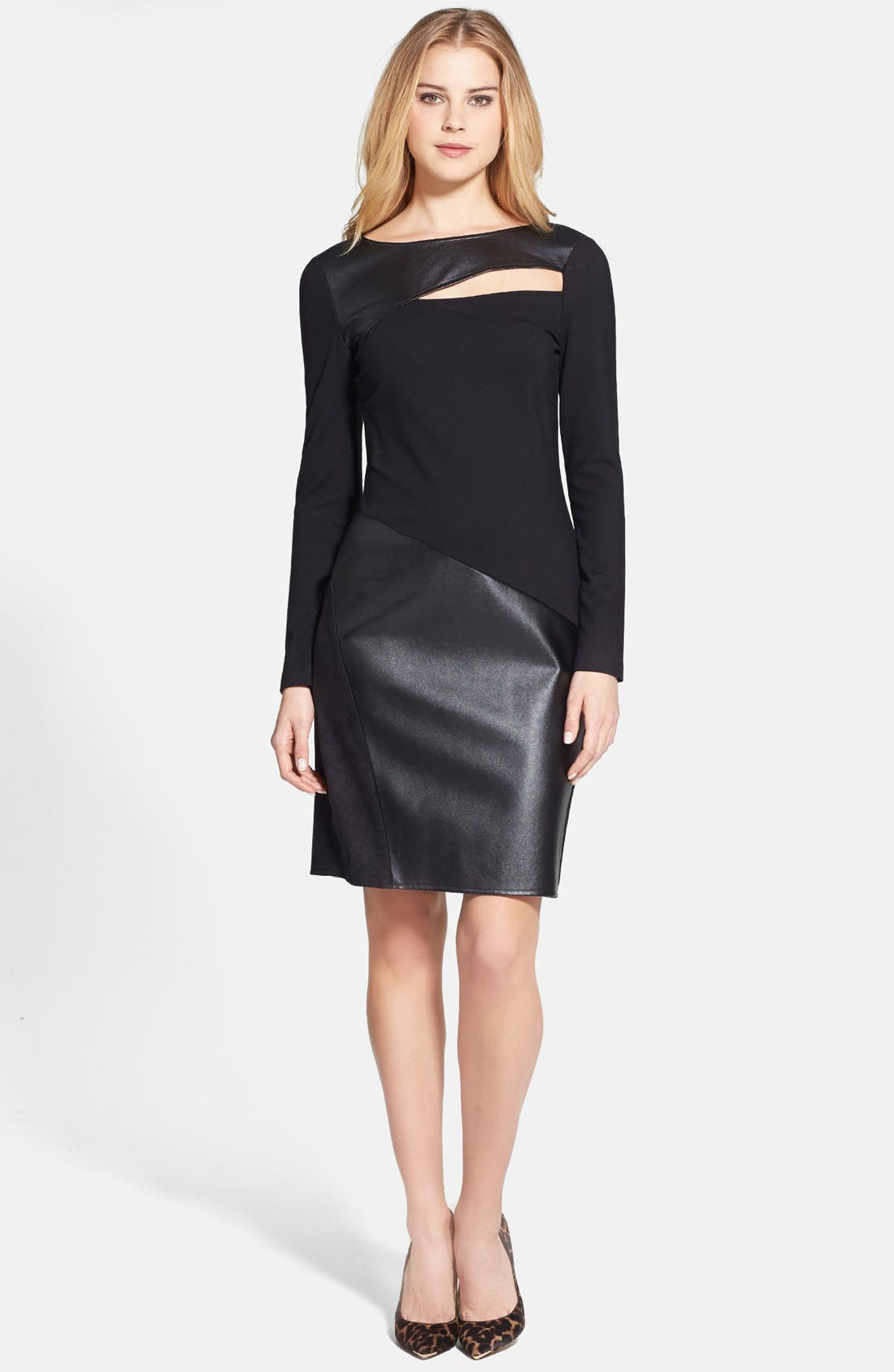 Alternate Image 1 Selected - DKNYC Ponte & Faux Leather Sheath Dress
