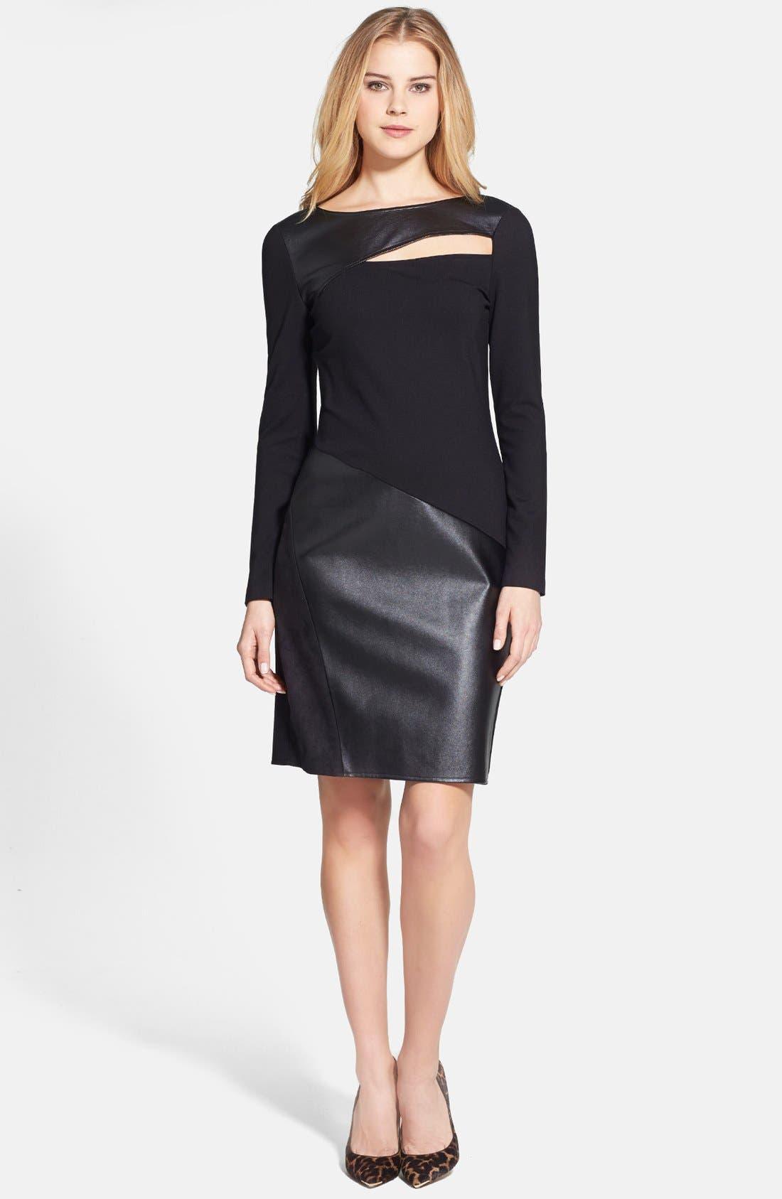Main Image - DKNYC Ponte & Faux Leather Sheath Dress