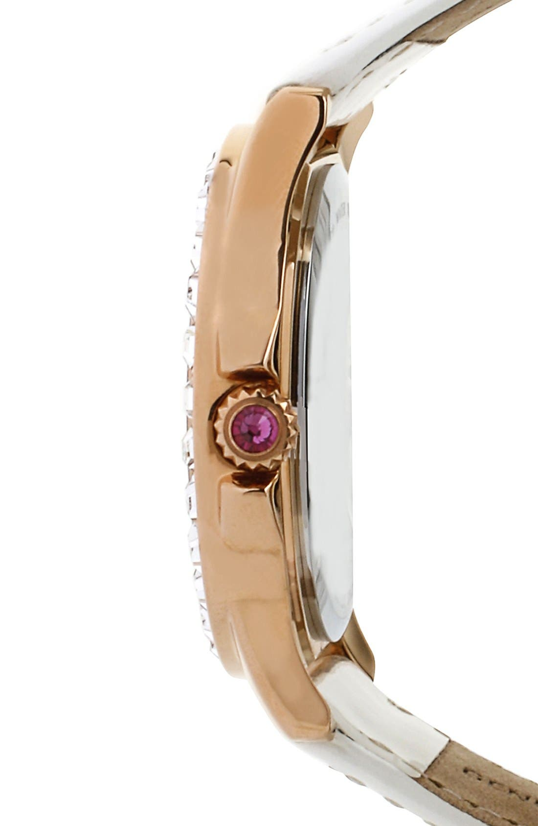 Alternate Image 3  - Betsey Johnson 'Bling Bling Time' Leather Strap Watch, 40mm