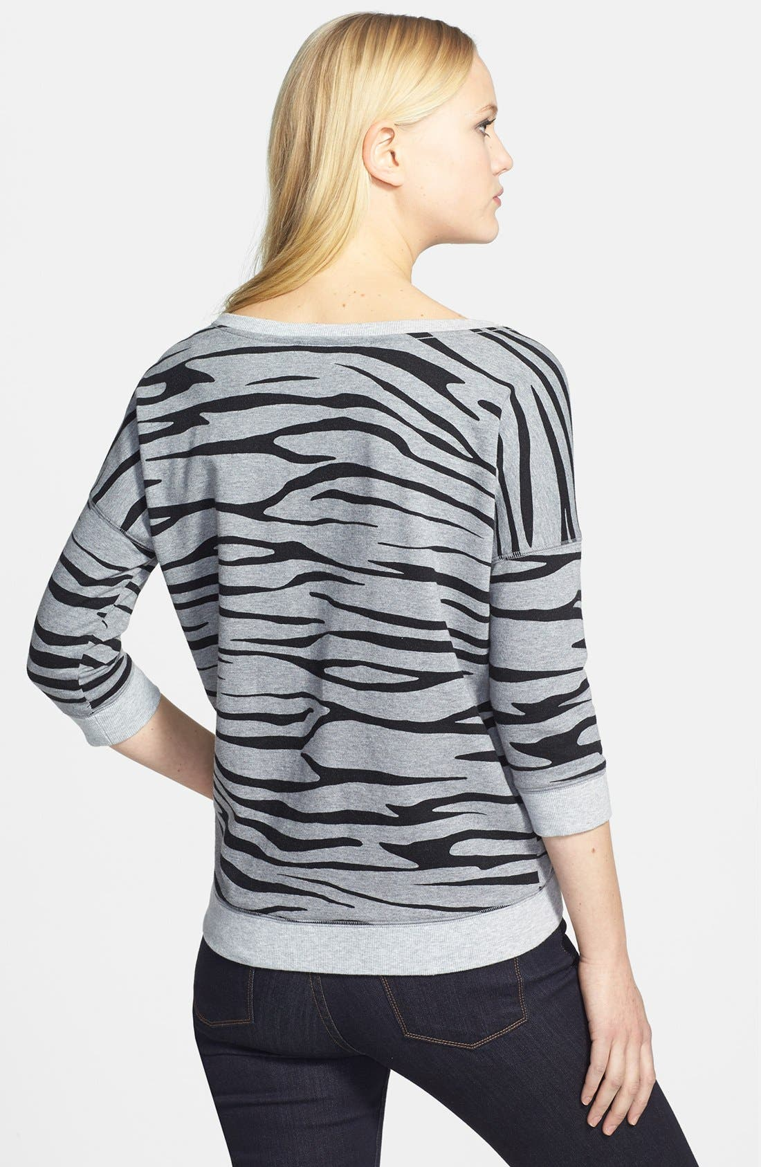 Alternate Image 2  - Two by Vince Camuto Zebra Print Sweatshirt