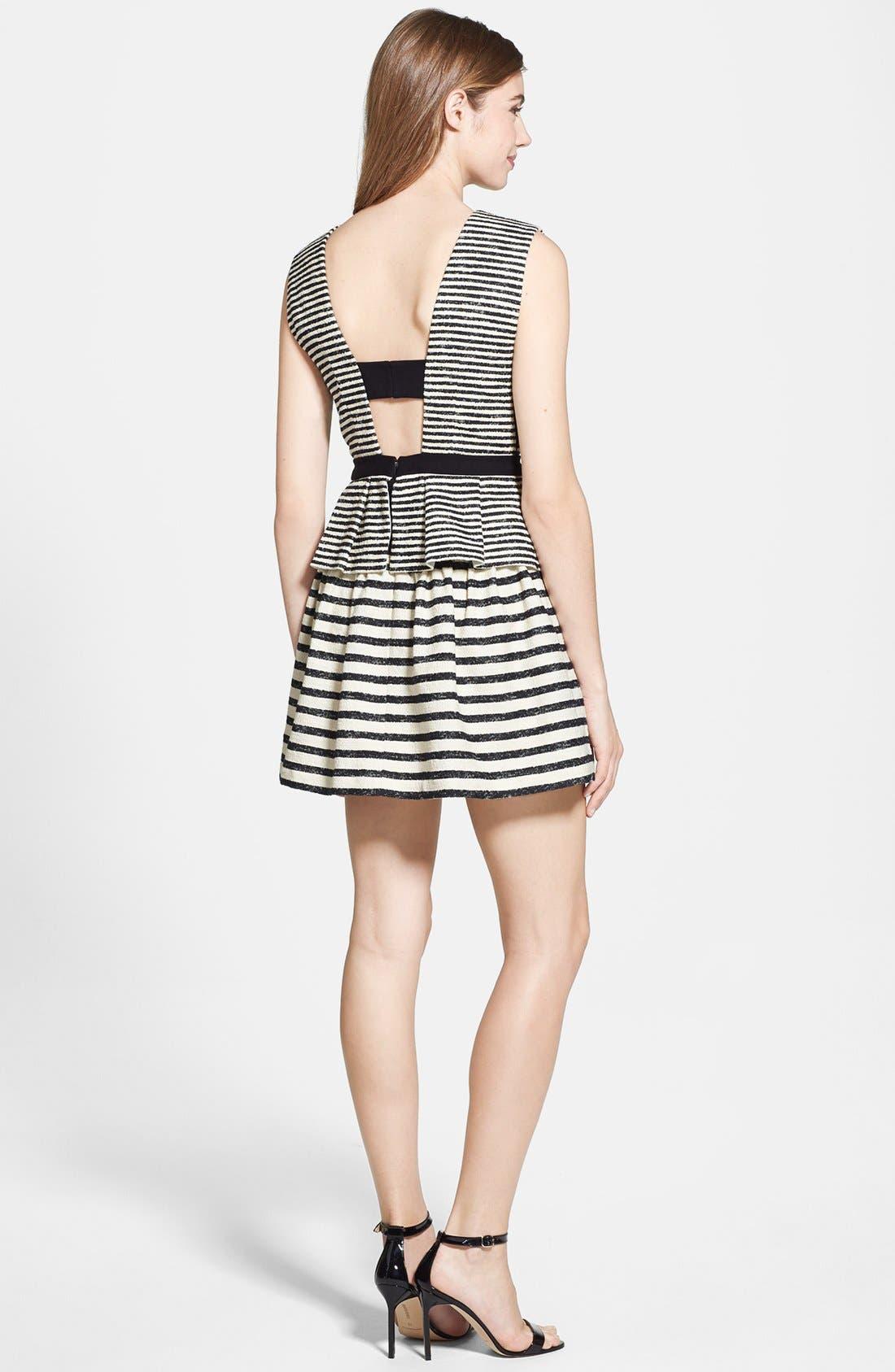 Stripe Fit & Flare Peplum Dress,                             Alternate thumbnail 2, color,                             Black/ Off White Combo