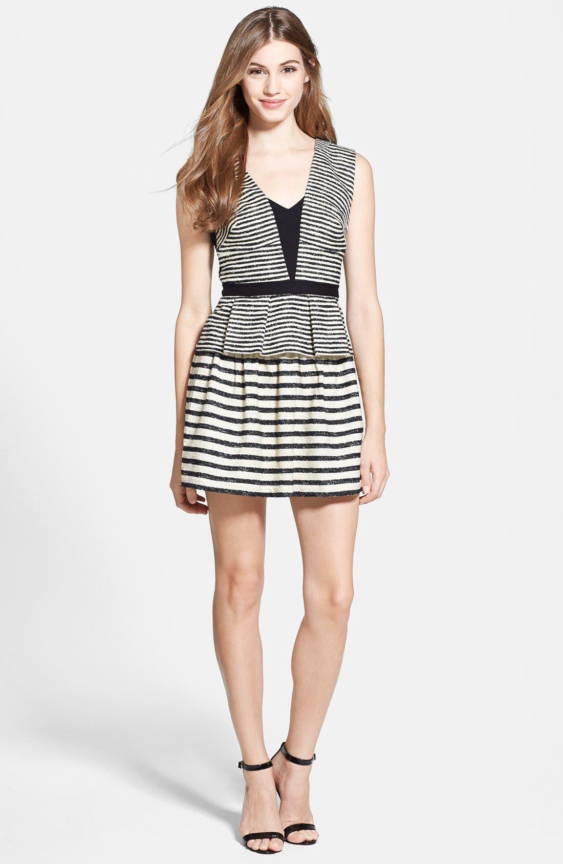 Stripe Fit & Flare Peplum Dress,                             Main thumbnail 1, color,                             Black/ Off White Combo