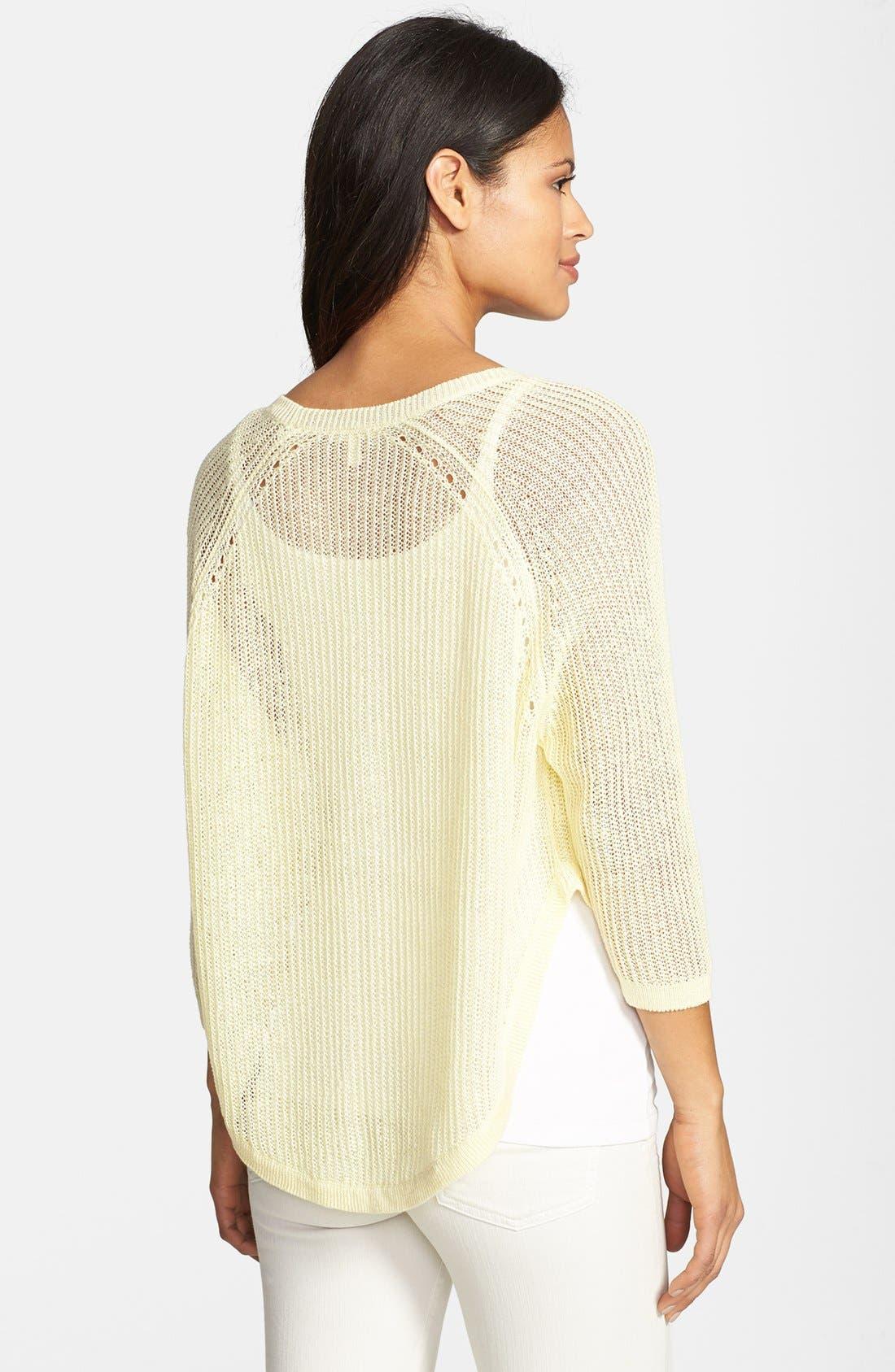 Alternate Image 2  - Eileen Fisher Three Quarter Sleeve Linen Sweater (Regular & Petite)