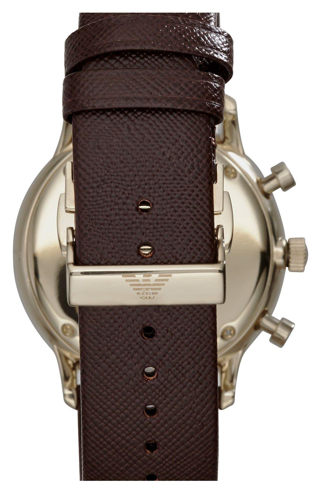 Alternate Image 2  - Emporio Armani Chronograph Leather Strap Watch, 43mm
