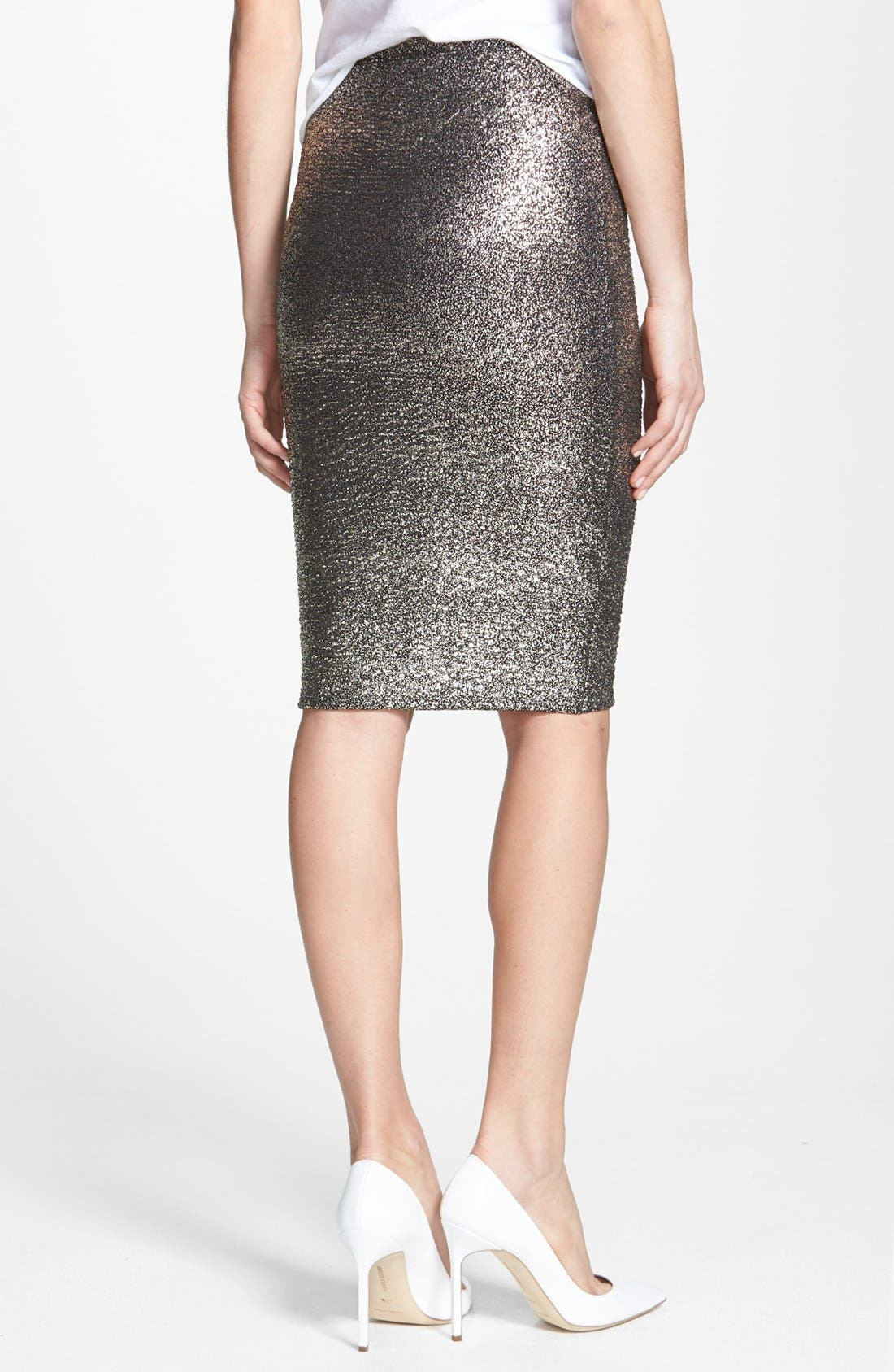 Alternate Image 2  - June & Hudson Metallic Pencil Skirt