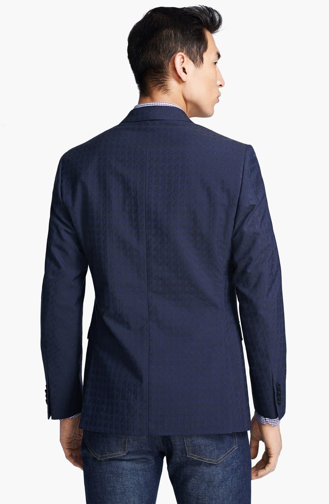 Alternate Image 2  - Z Zegna Navy Jacquard Check Wool Sportcoat