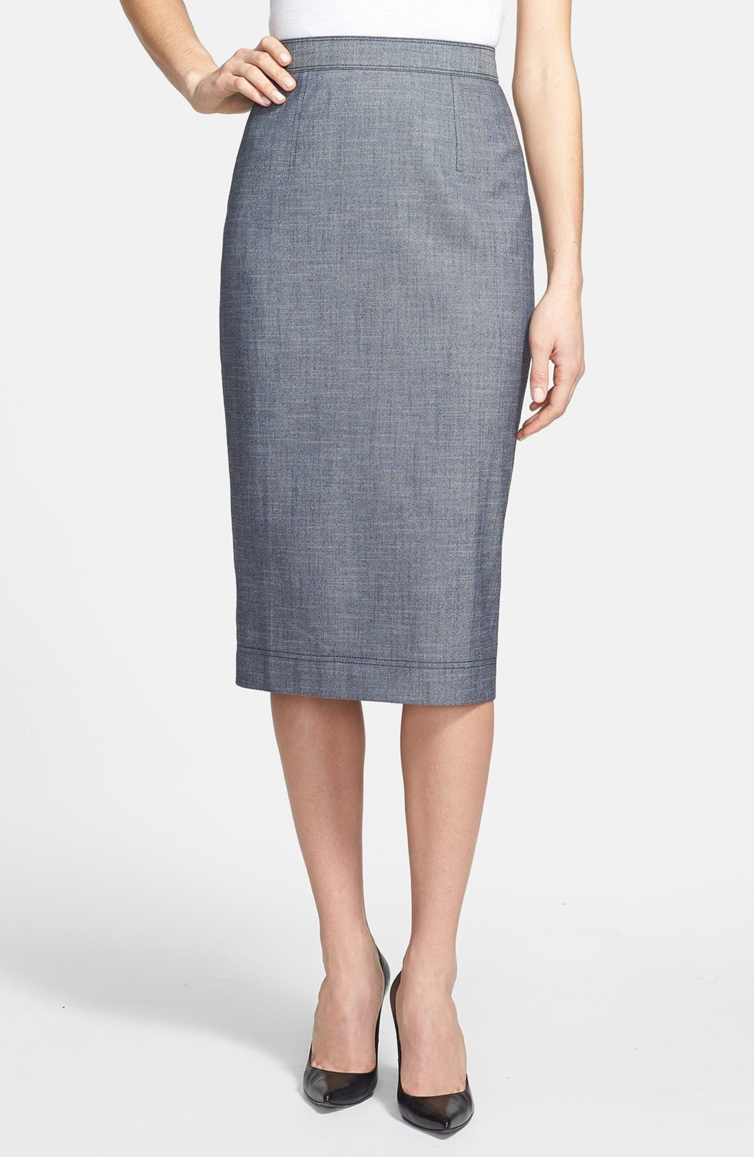 Alternate Image 1 Selected - Halogen® Crosshatch Weave Midi Pencil Skirt