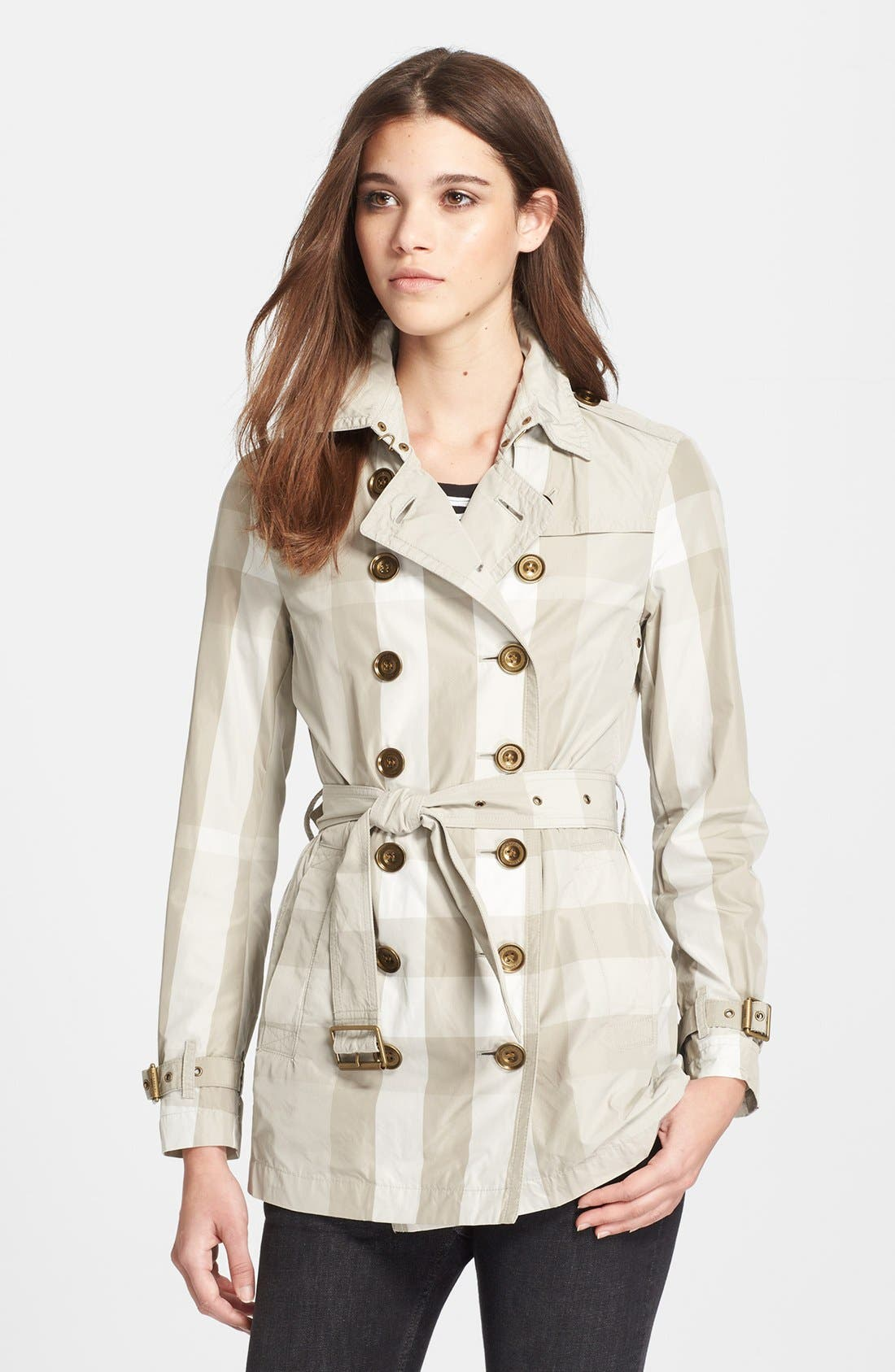 Alternate Image 1 Selected - Burberry Brit Check Print Double Breasted Linen Trench Coat