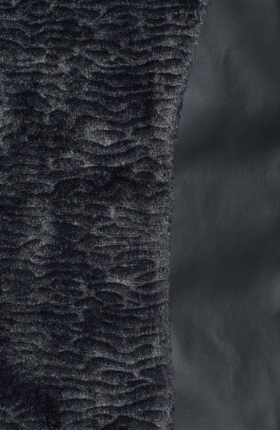 Alternate Image 3  - kensie Faux Fur & Faux Leather Collarless Jacket