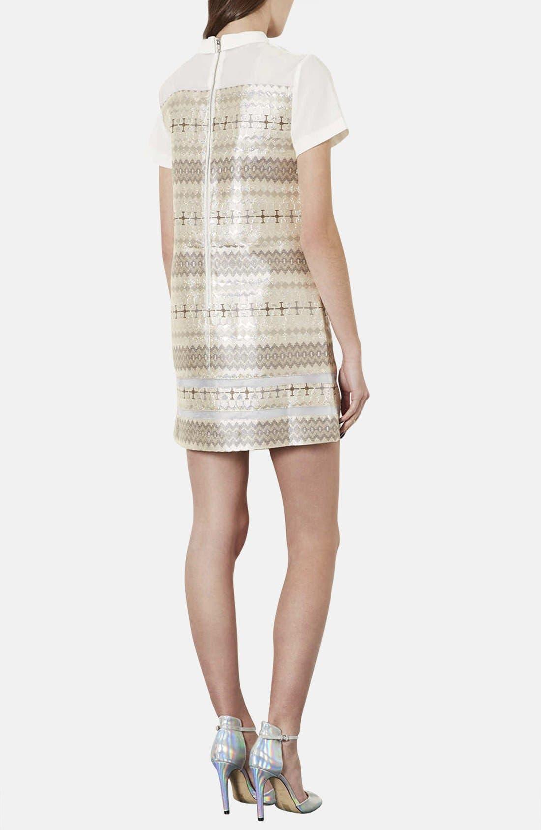 Alternate Image 2  - Topshop Annabel Metallic Jacquard Shift Dress