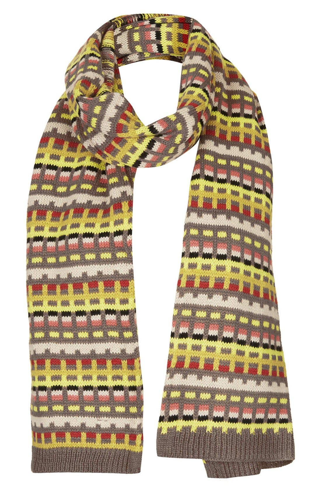 Main Image - Topshop Geometric Intarsia Knit Scarf